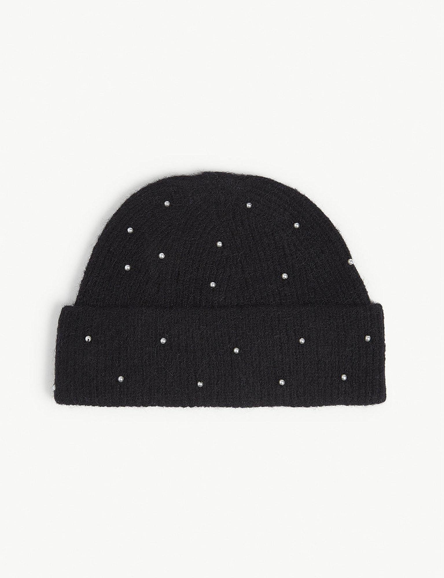 5e9e0fbbb2c Lyst - Sandro Pearl Wool-blend Beanie in Black - Save 65.6%