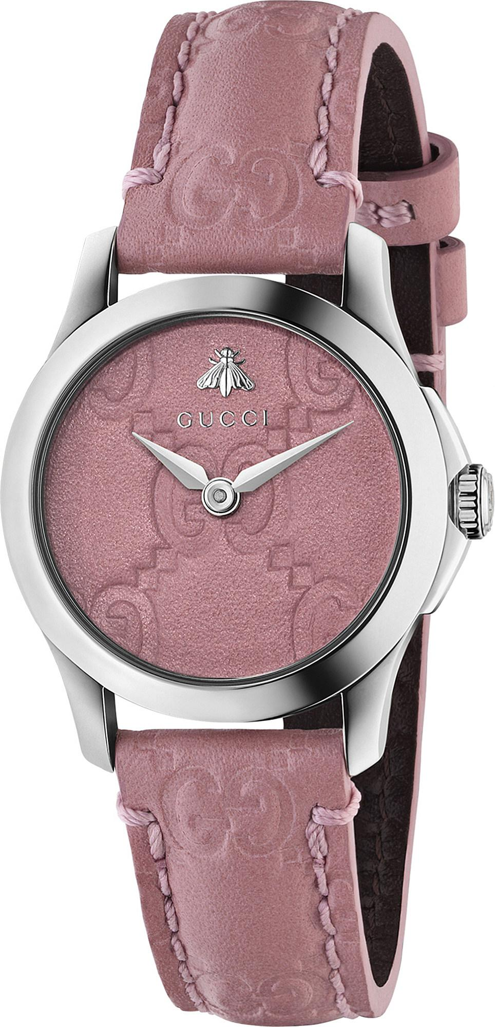 f1f175dca1e Gucci - Pink Ya126578 G-timeless Collection Stainless Steel And Leather  Watch - Lyst. View fullscreen