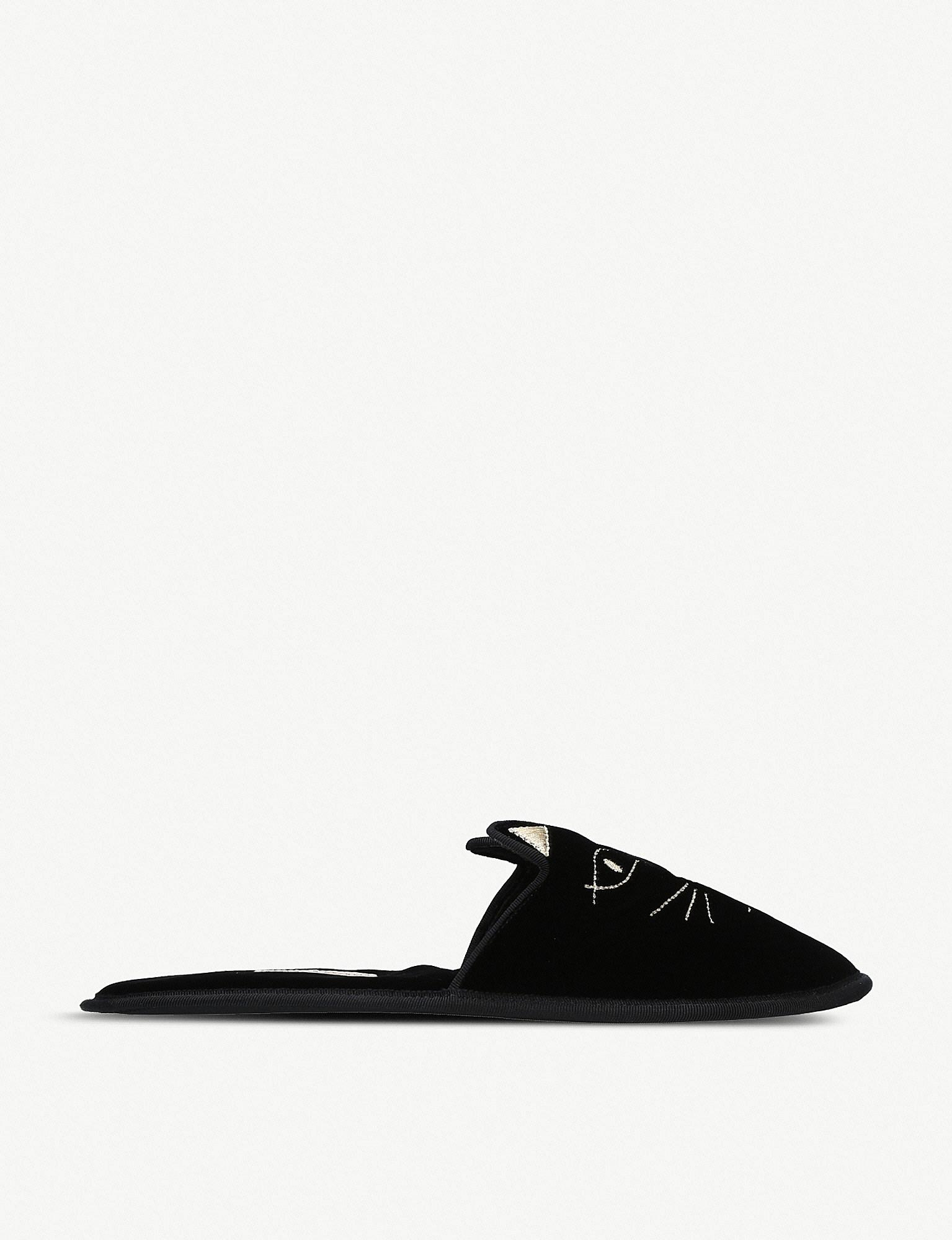 Charlotte Olympia House Cats Embroidered Velvet Slippers in Black - Lyst f404afd7839f