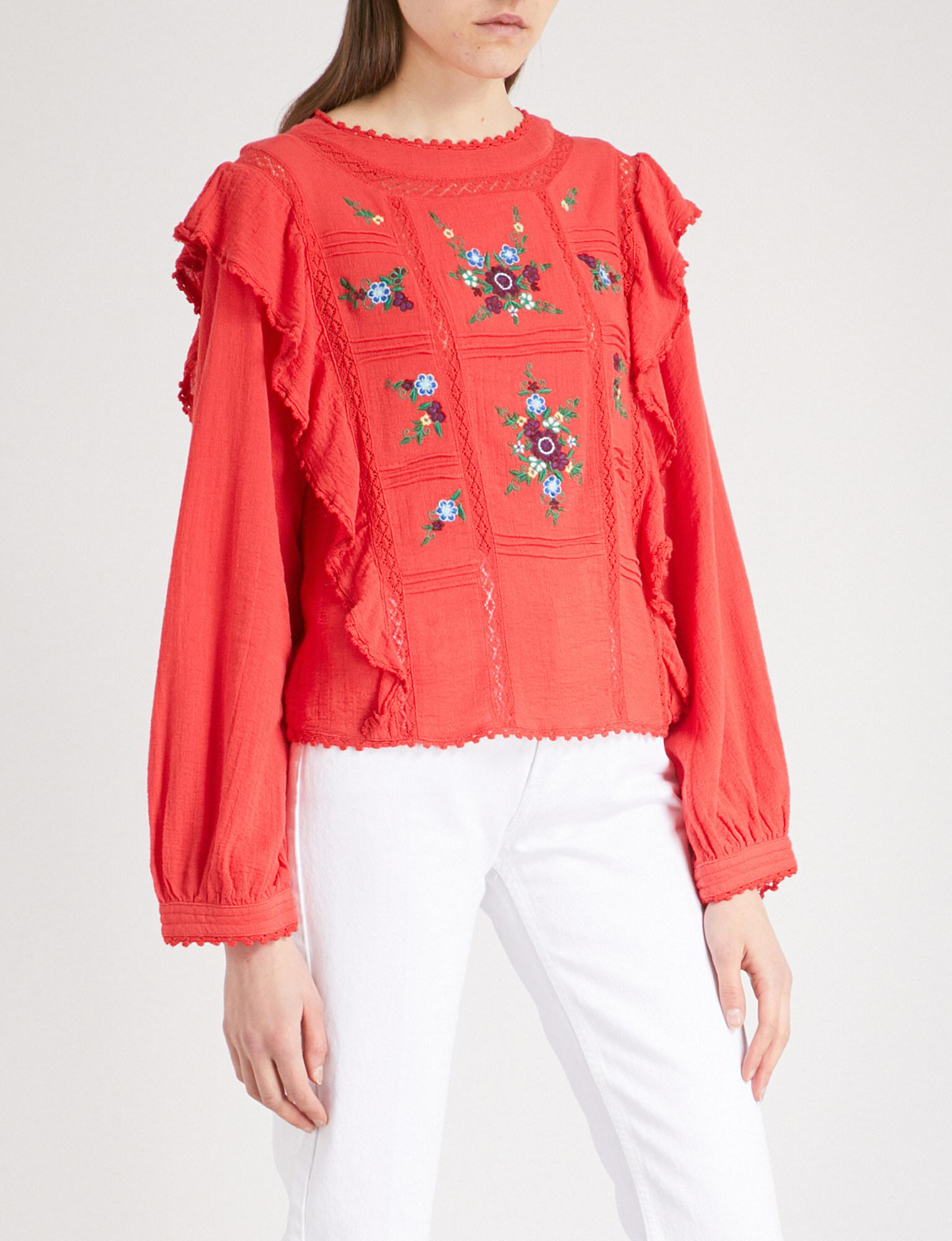 d6b0d4231d8243 Free People Amy Embroidered-floral Woven Top in Red - Lyst