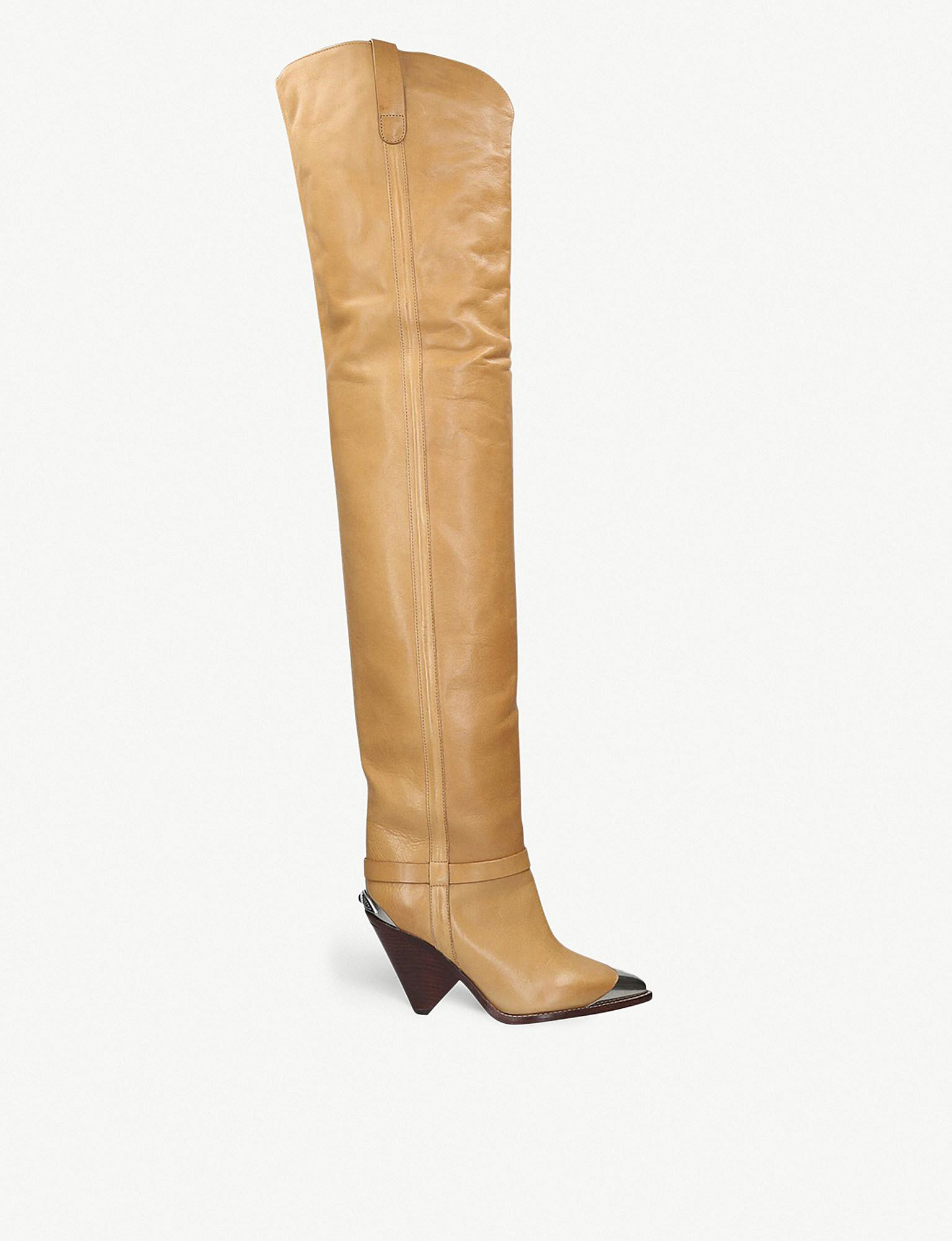 e0109058e49 Isabel Marant. Women s Natural Lafsten Embellished Leather Over-the-knee  Boots