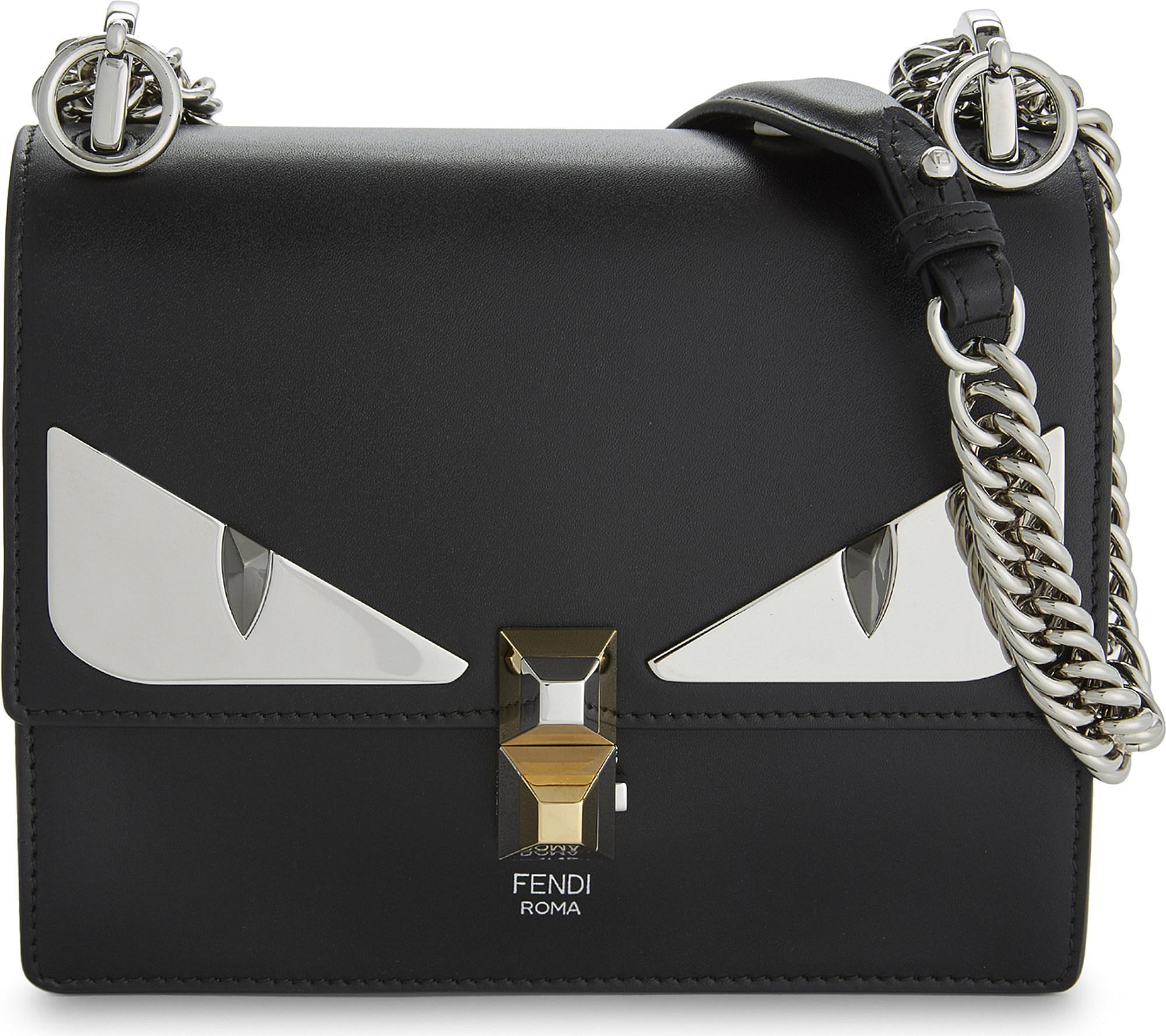 391e5a928c44 Lyst - Fendi Kan I Monster Leather Shoulder Bag in Black