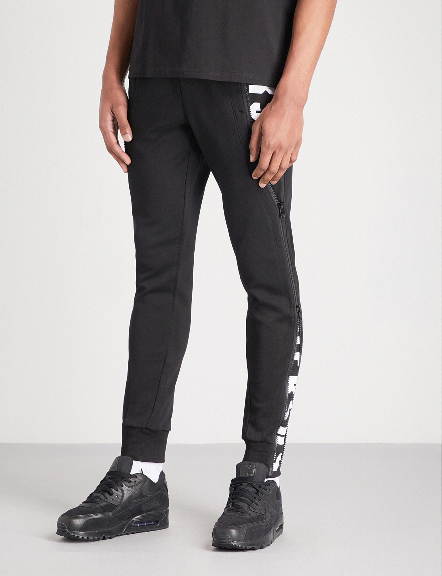 Versus. Men's Black Zip-embellished Cotton-jersey Jogging Bottoms