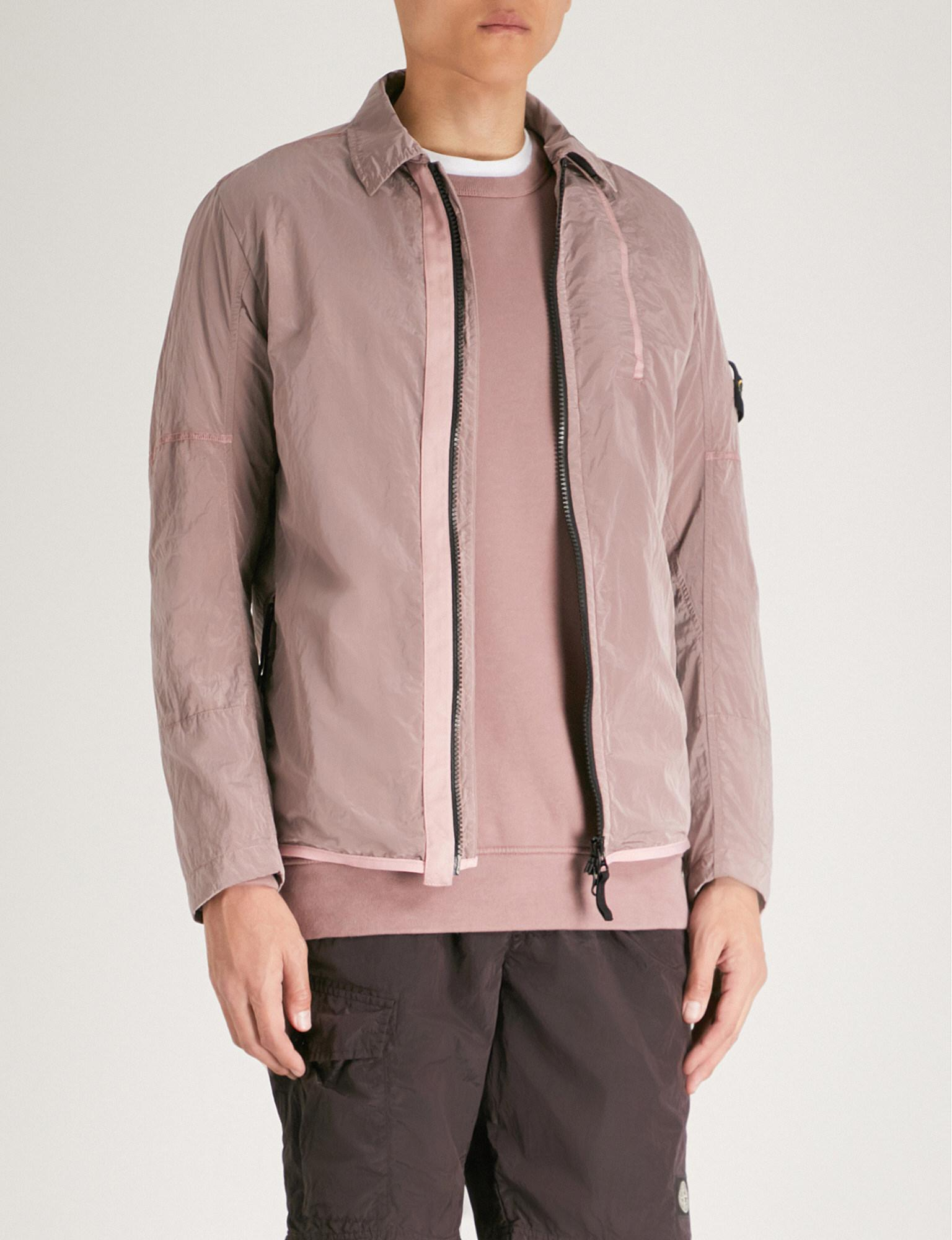 67ba9f7a0309 Stone Island Logo-appliqué Shell Overshirt in Pink for Men - Lyst