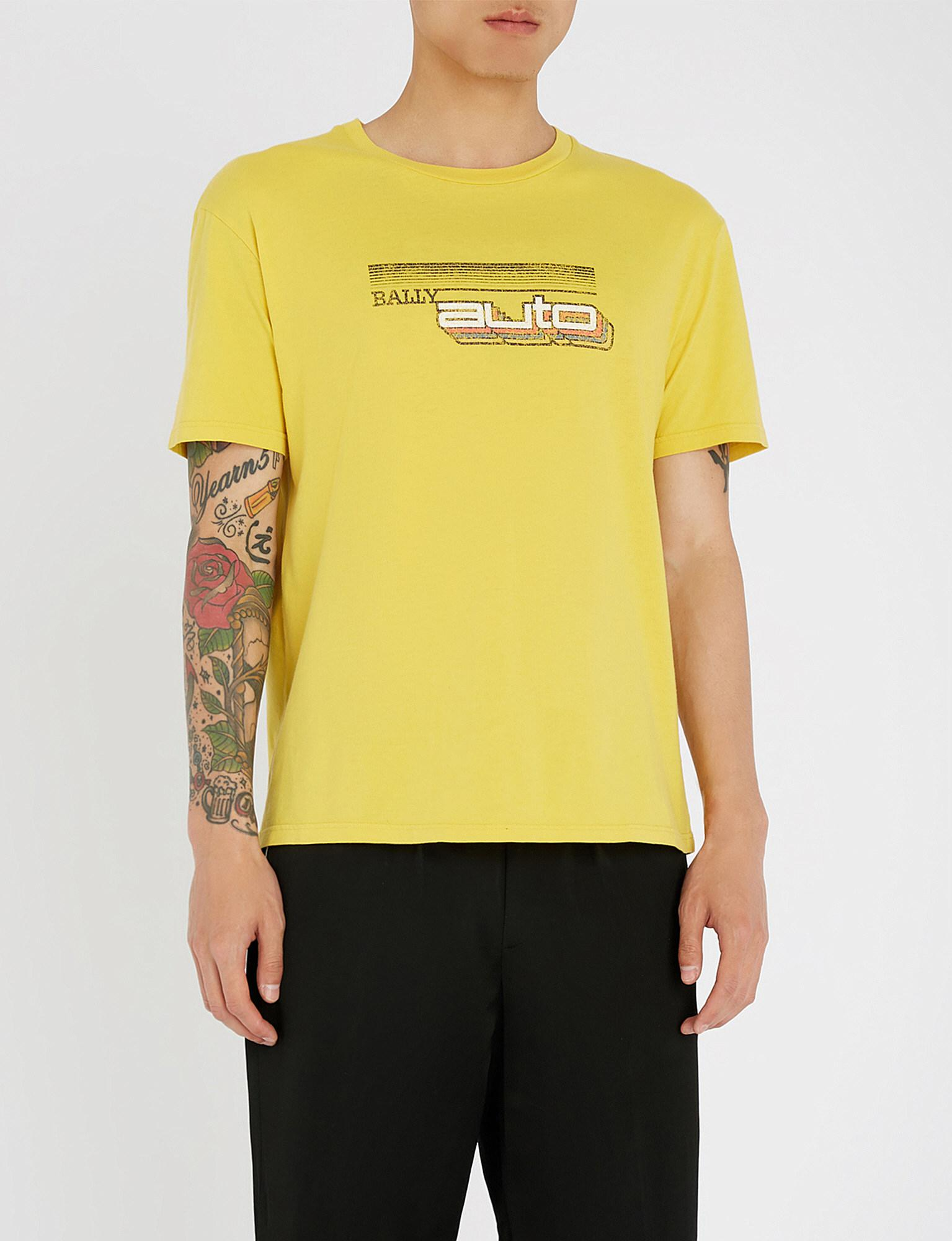 8663ab2da Bally Distressed Cotton-jersey T-shirt in Yellow for Men - Lyst