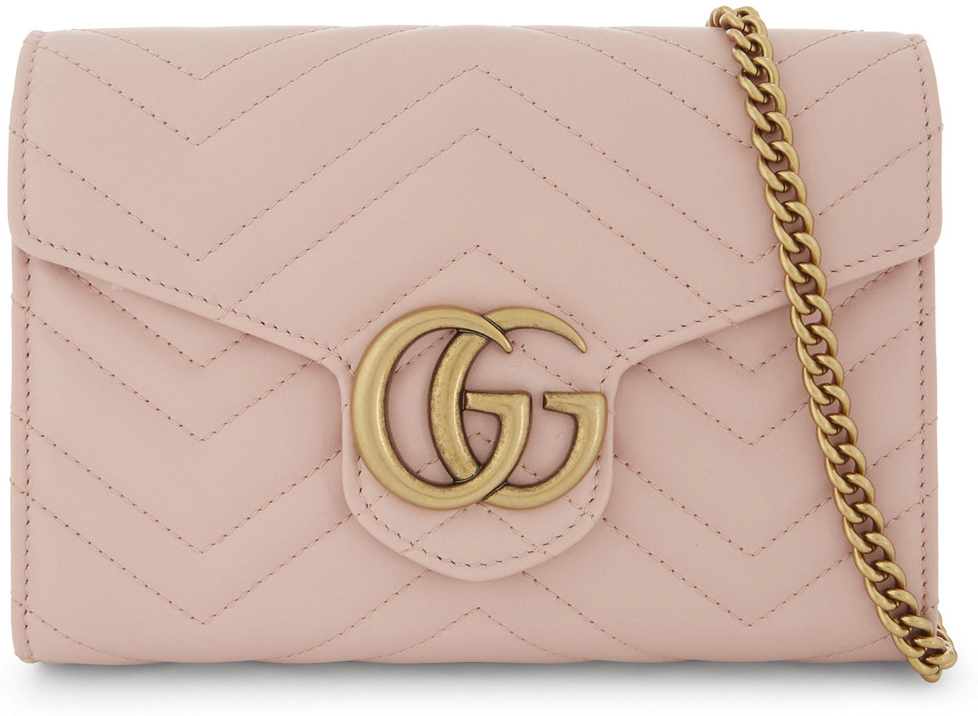 e501b5be0e84 Lyst - Gucci Gg Marmont Matelassé Mini Bag in Pink