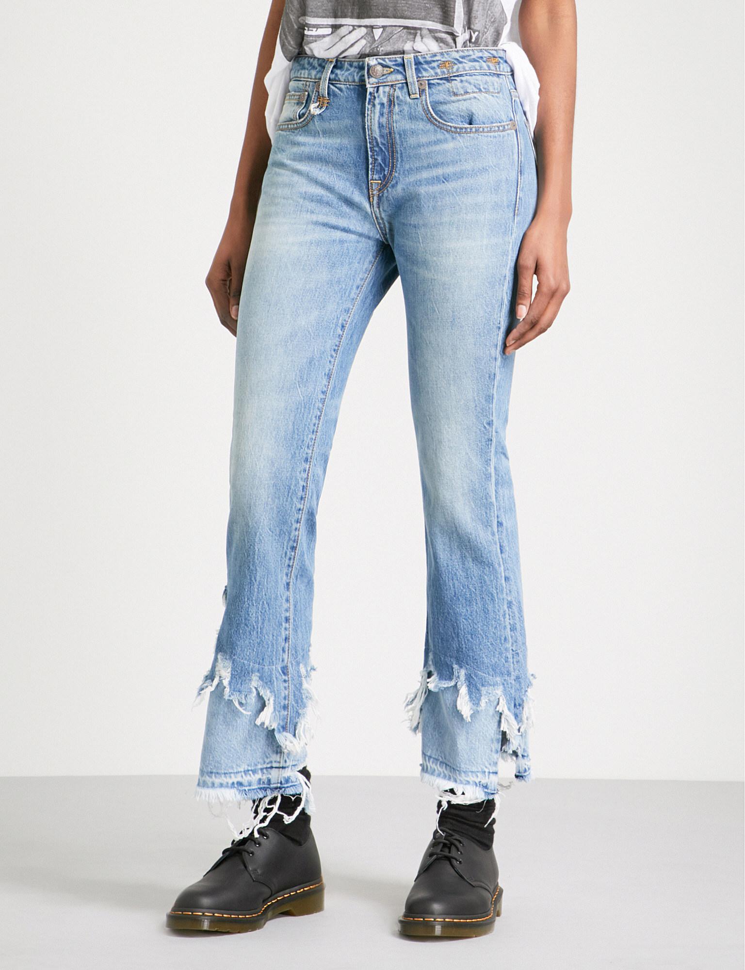 5d7b162ab35 R13 Kick Shredded-hem Slim-fit Mid-rise Jeans in Blue - Lyst