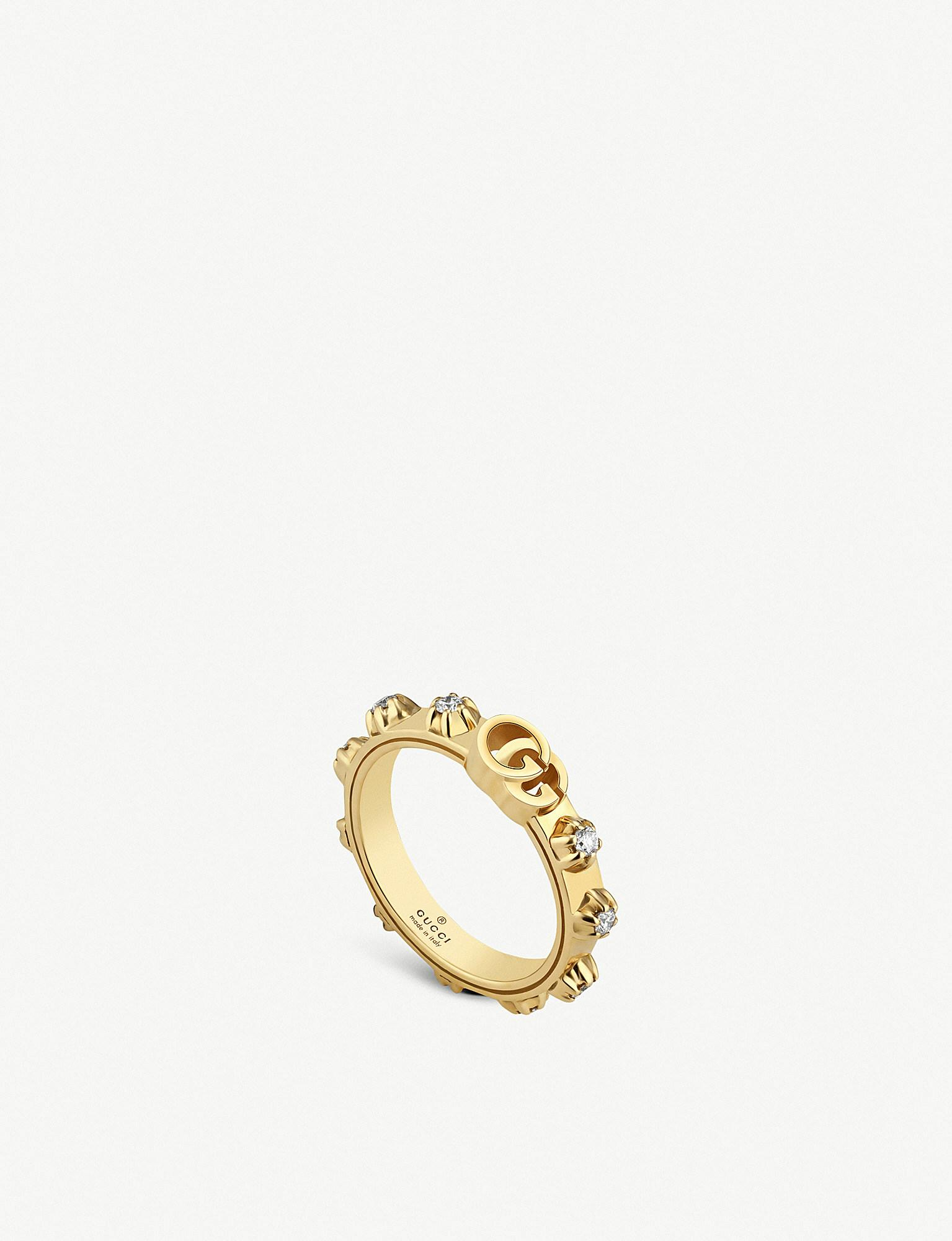 1a413b31dda Gucci. Women s Metallic GG Running 18ct Yellow-gold And White Diamond Ring