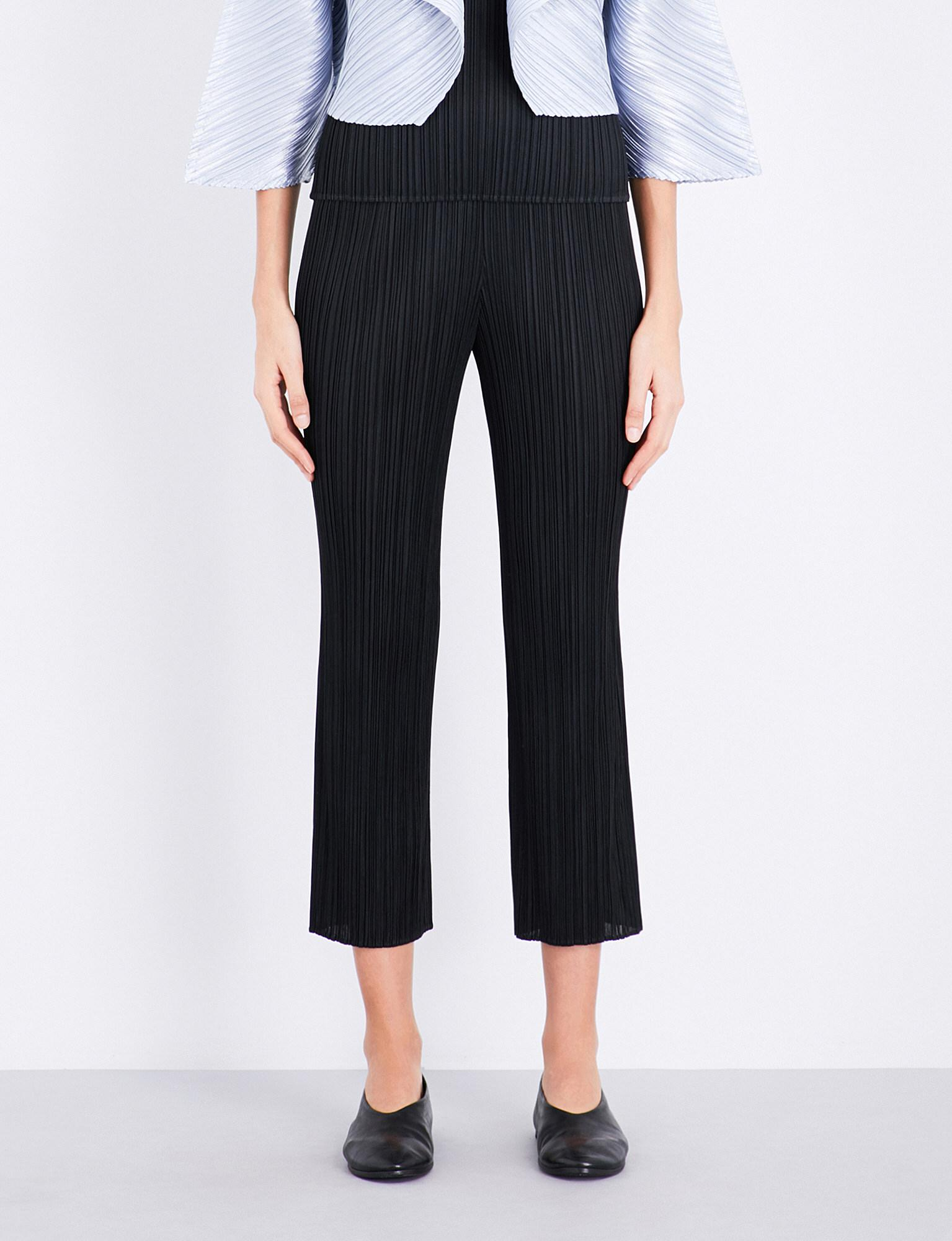 44ef1c14a098 Lyst - Pleats Please Issey Miyake Cropped Slim Pleated Trousers in Black