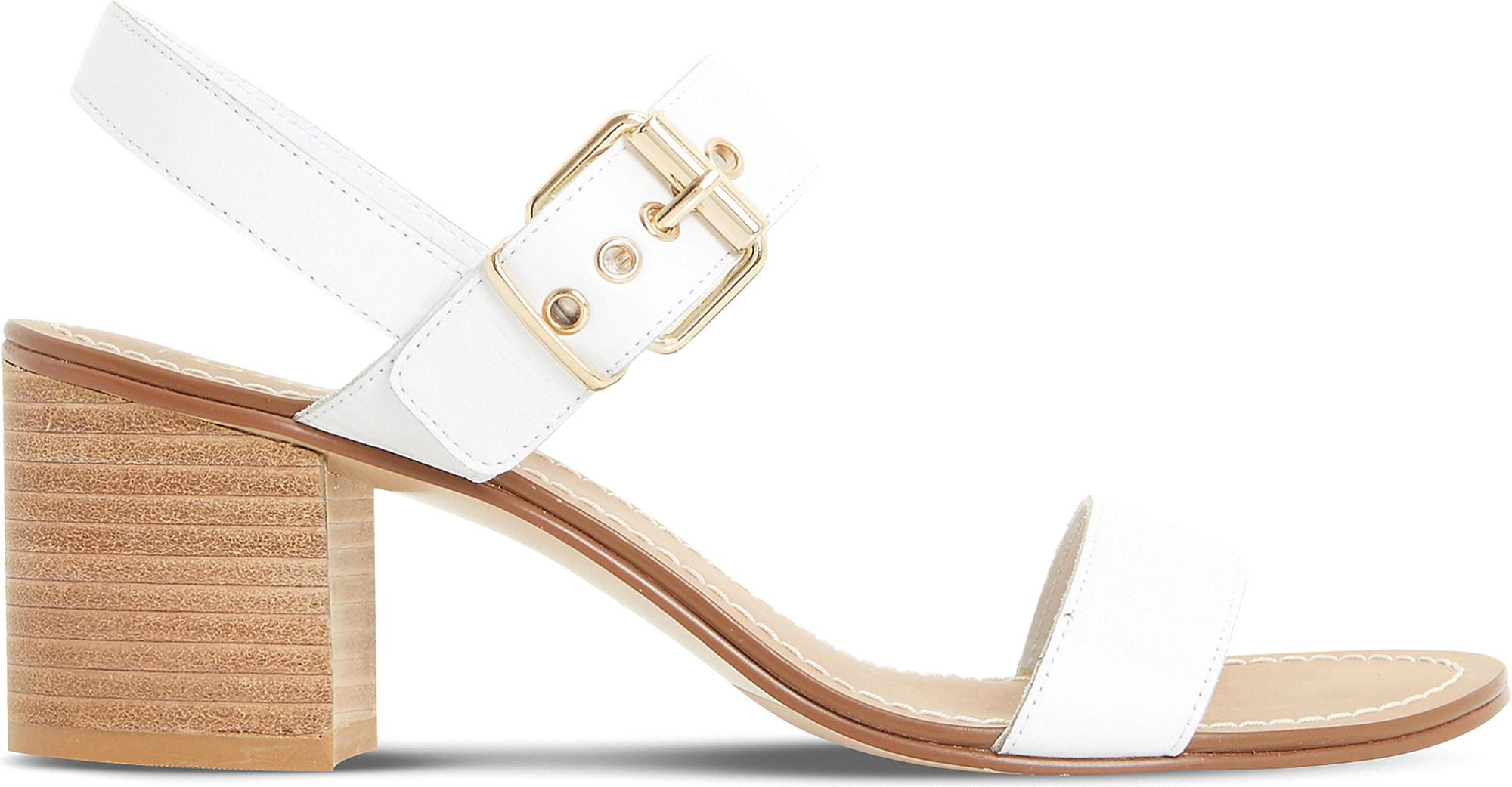 Dune Jany Leather Stack Heel Sandal Free Shipping For Cheap cGm4dZxf1G