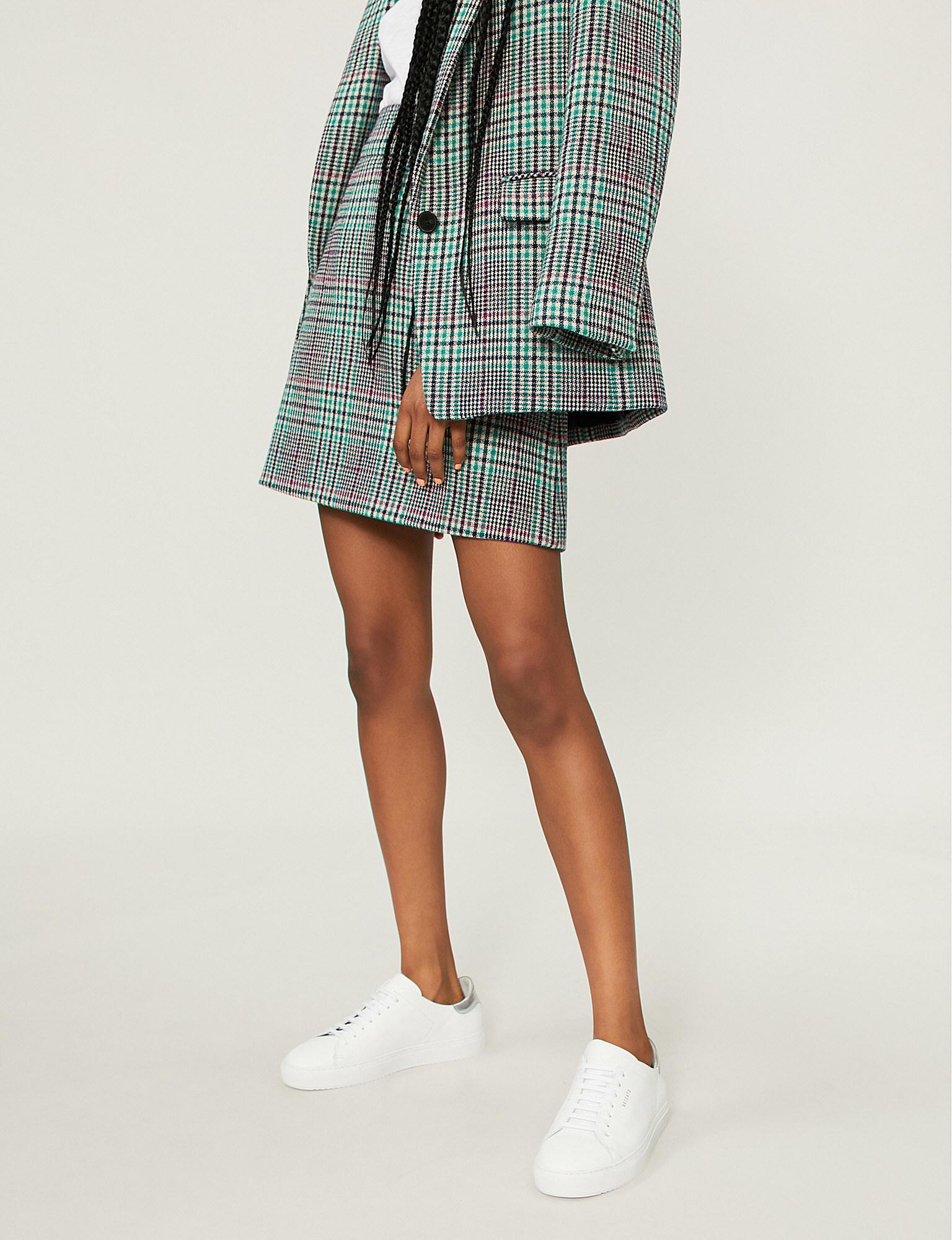 14b56c5ca Sandro Tartan Check Wool-blend Mini Skirt in Green - Lyst