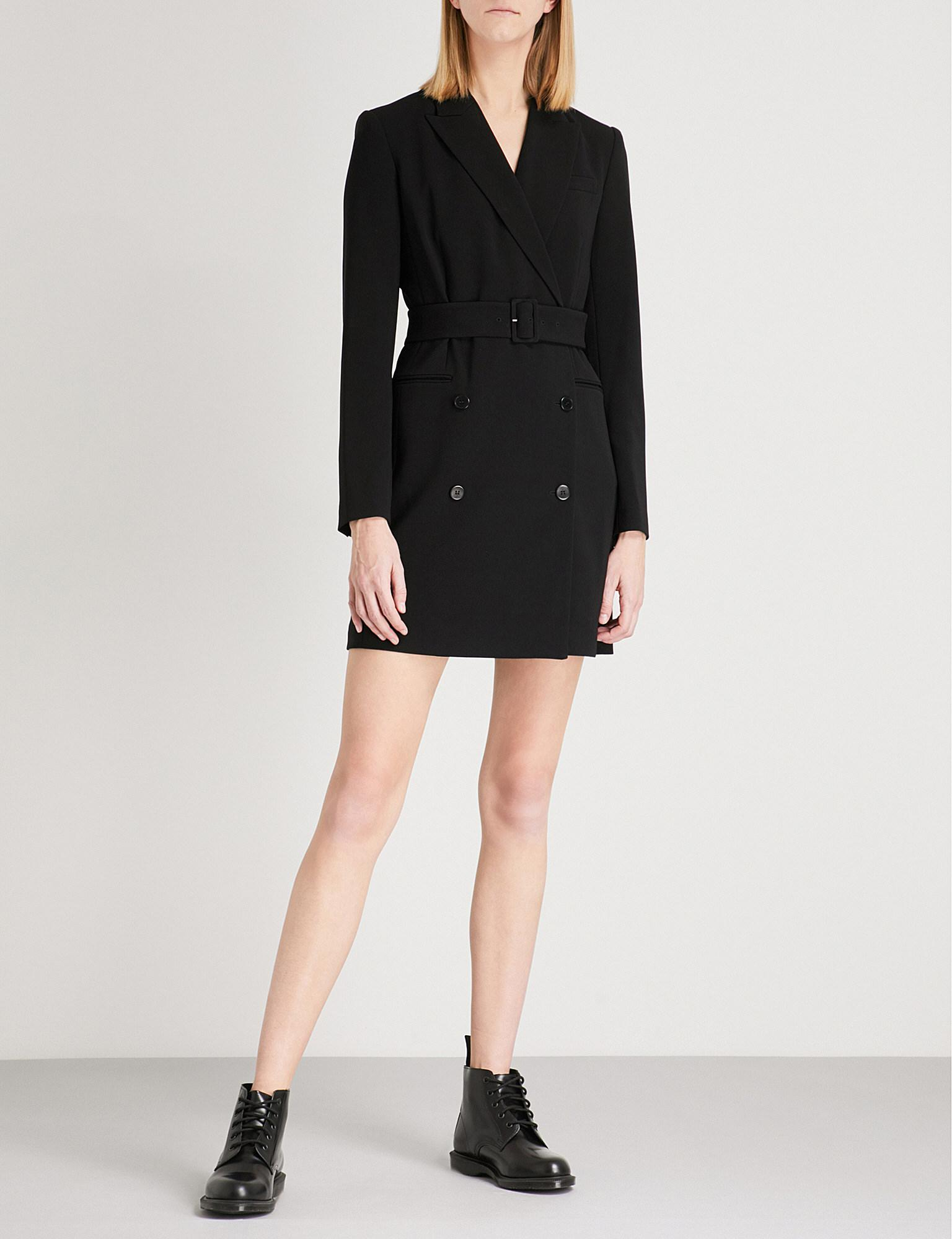 72b6f072b6 Theory Double-breasted Crepe Blazer Dress in Black - Lyst