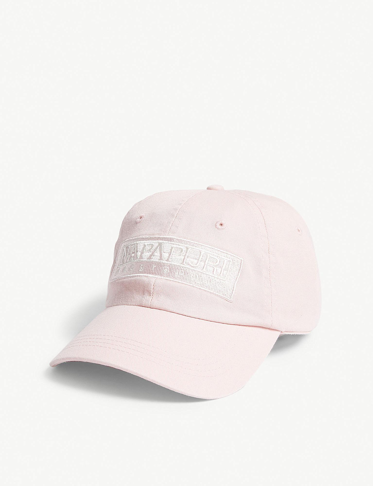 Lyst - Napapijri Logo Cotton Strapback Cap in Pink for Men af4ac901ff6d