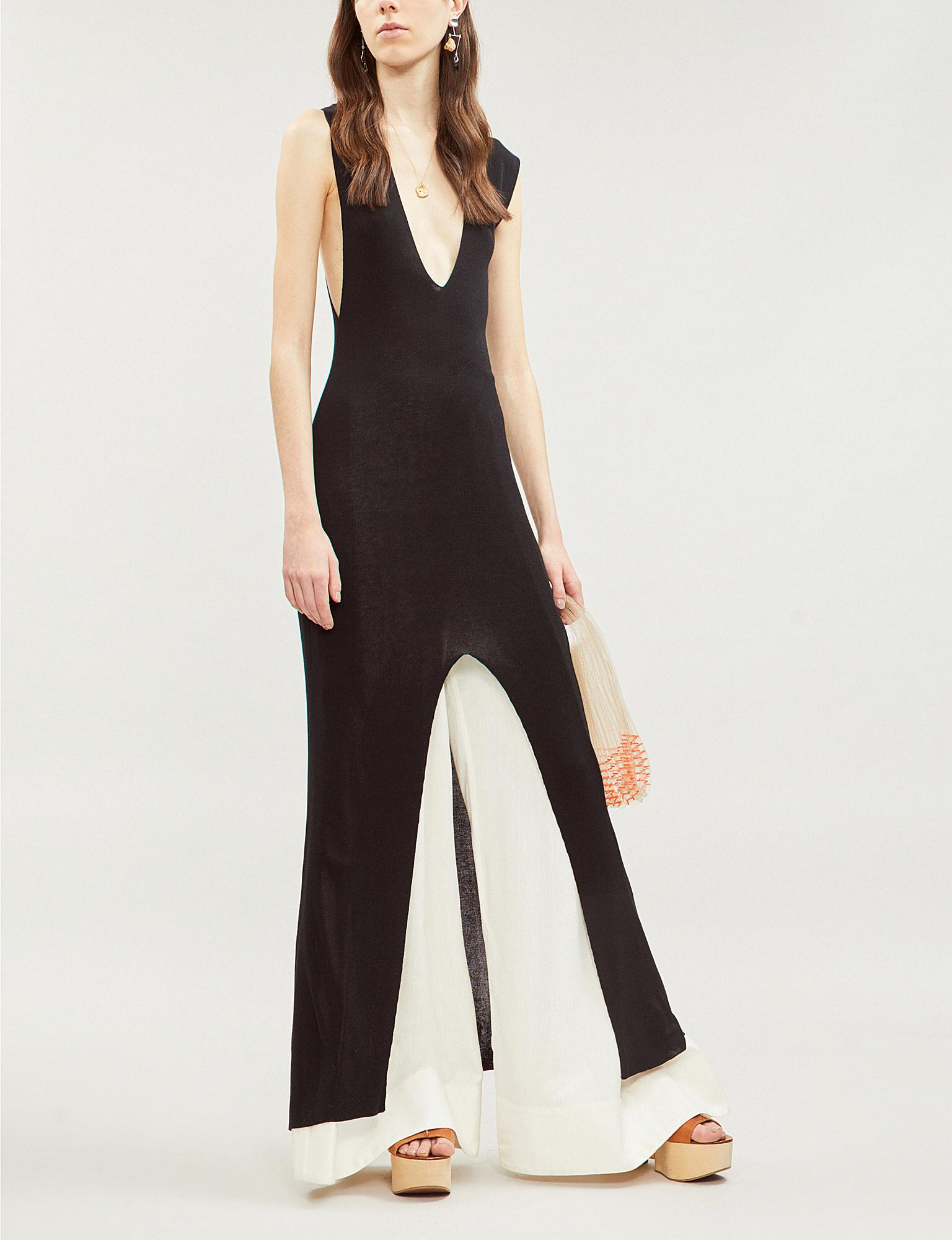 963adea264 Jacquemus - Black Azur V-neck Stretch-jersey Maxi Dress - Lyst. View  fullscreen