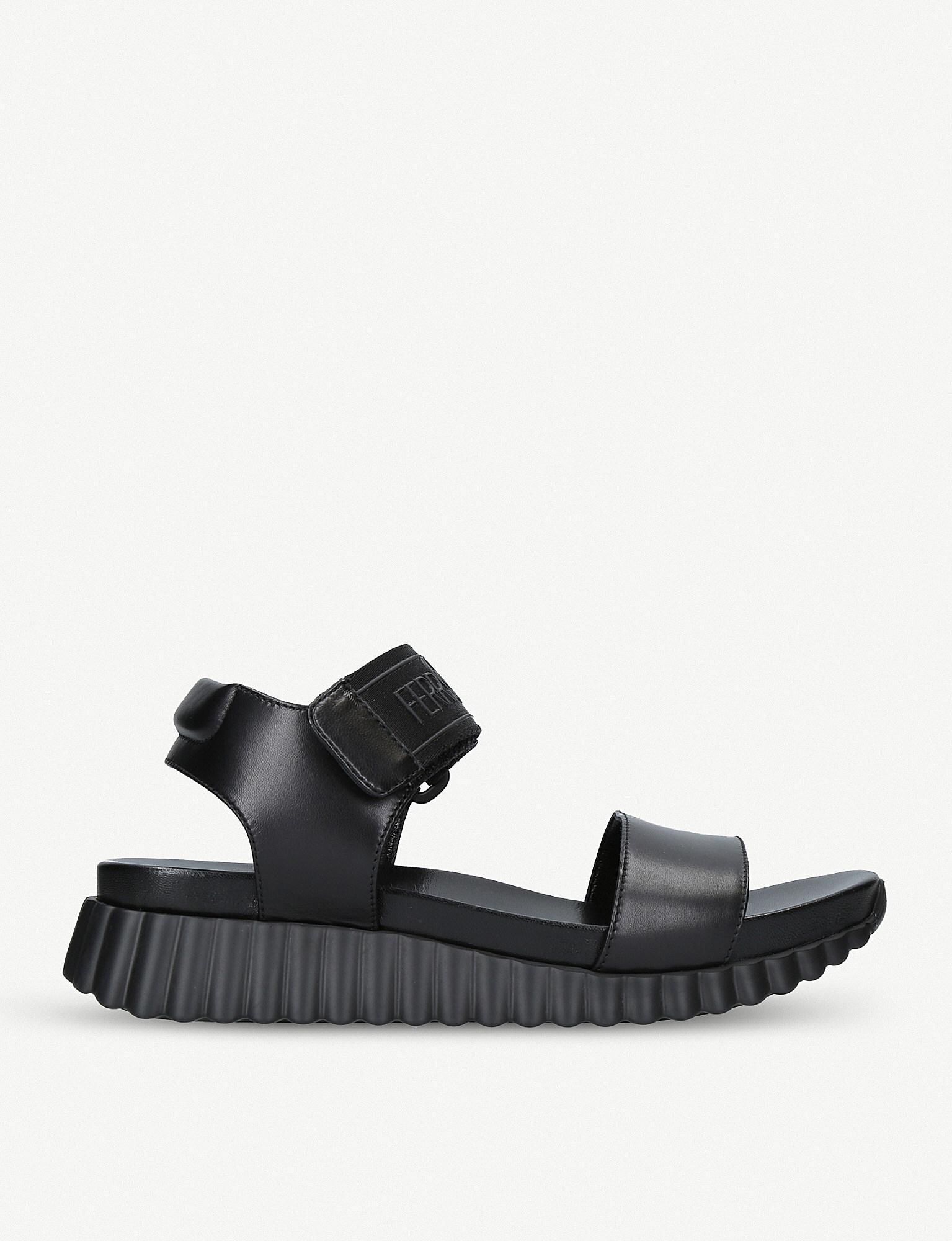 71f261779082 Ferragamo Sabaudia Open-toe Leather Sandals in Black for Men - Lyst
