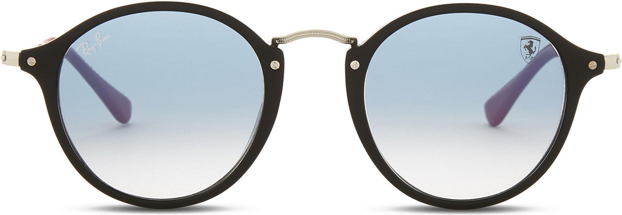 b36c8a04eec Ray-Ban Scuderia Ferrari Rb2447nm Round-frame Sunglasses in Black - Lyst