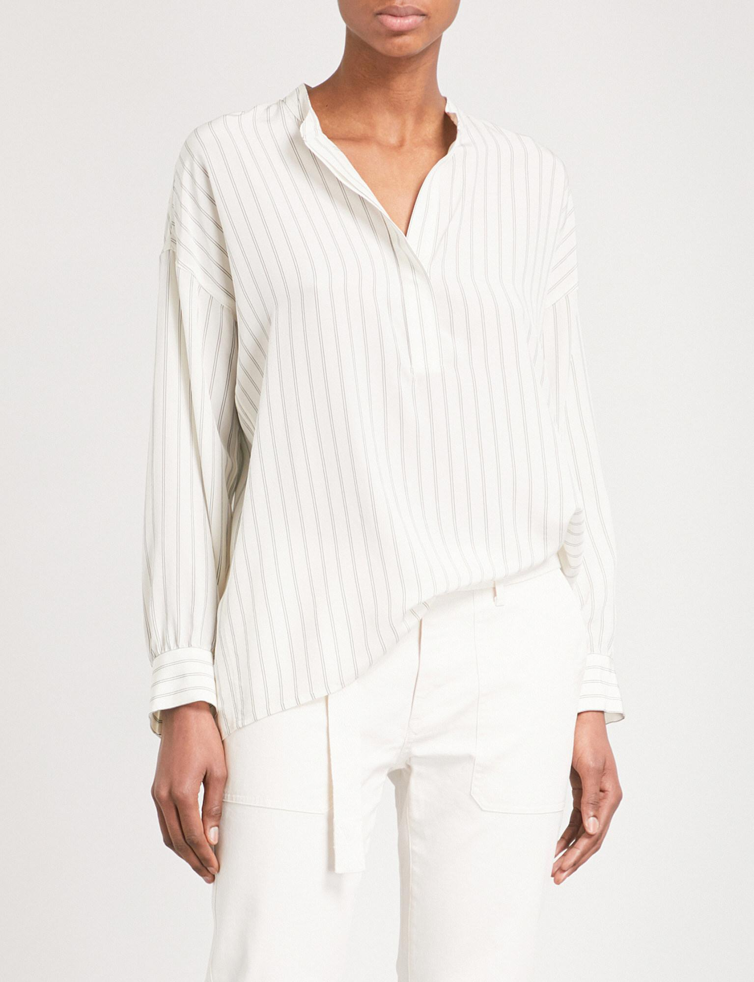 af3da0bd11c95 Lyst - Vince Striped Silk Shirt in White