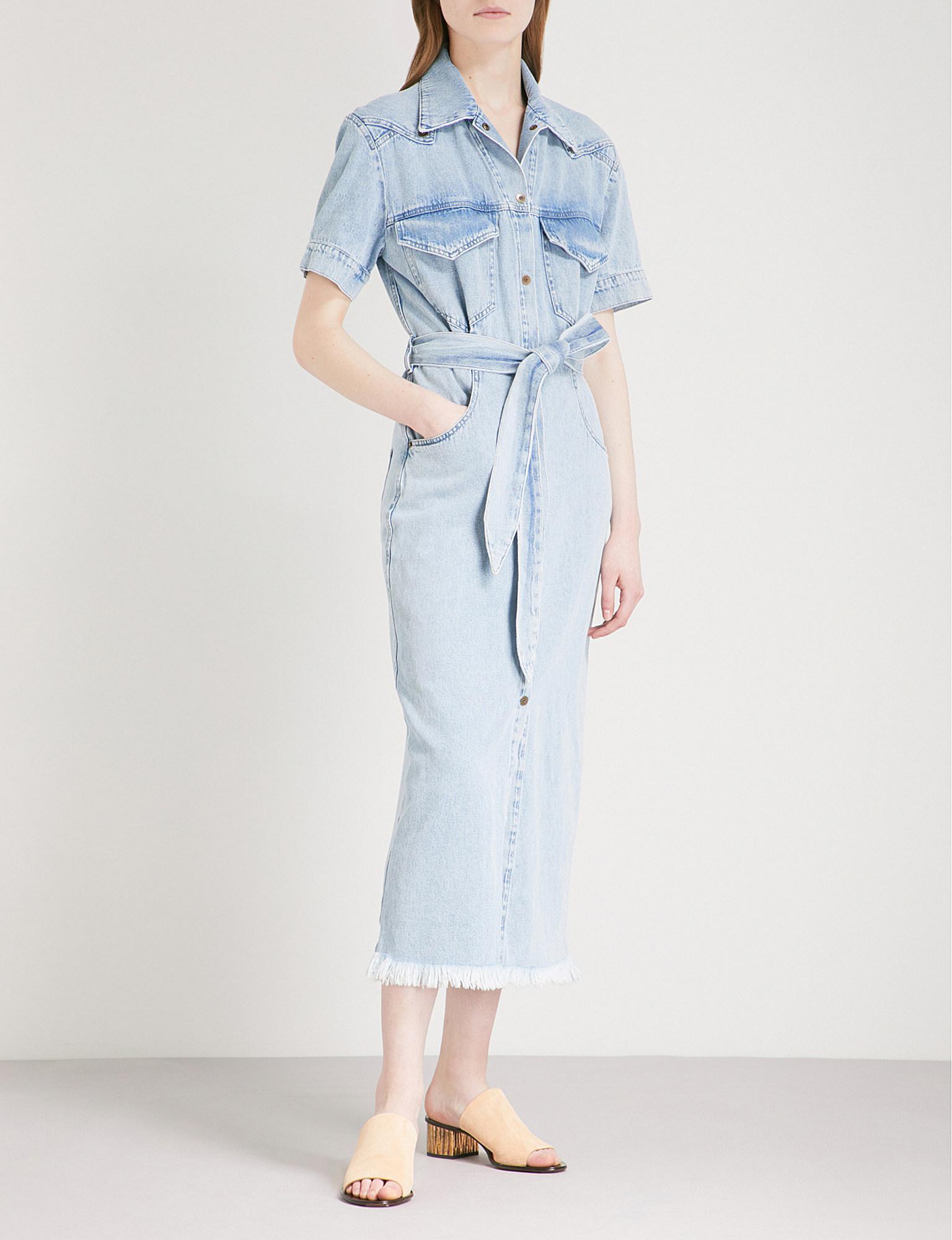 bd4e412235a Lyst - Nanushka Goji Belted Denim Midi Dress in Blue