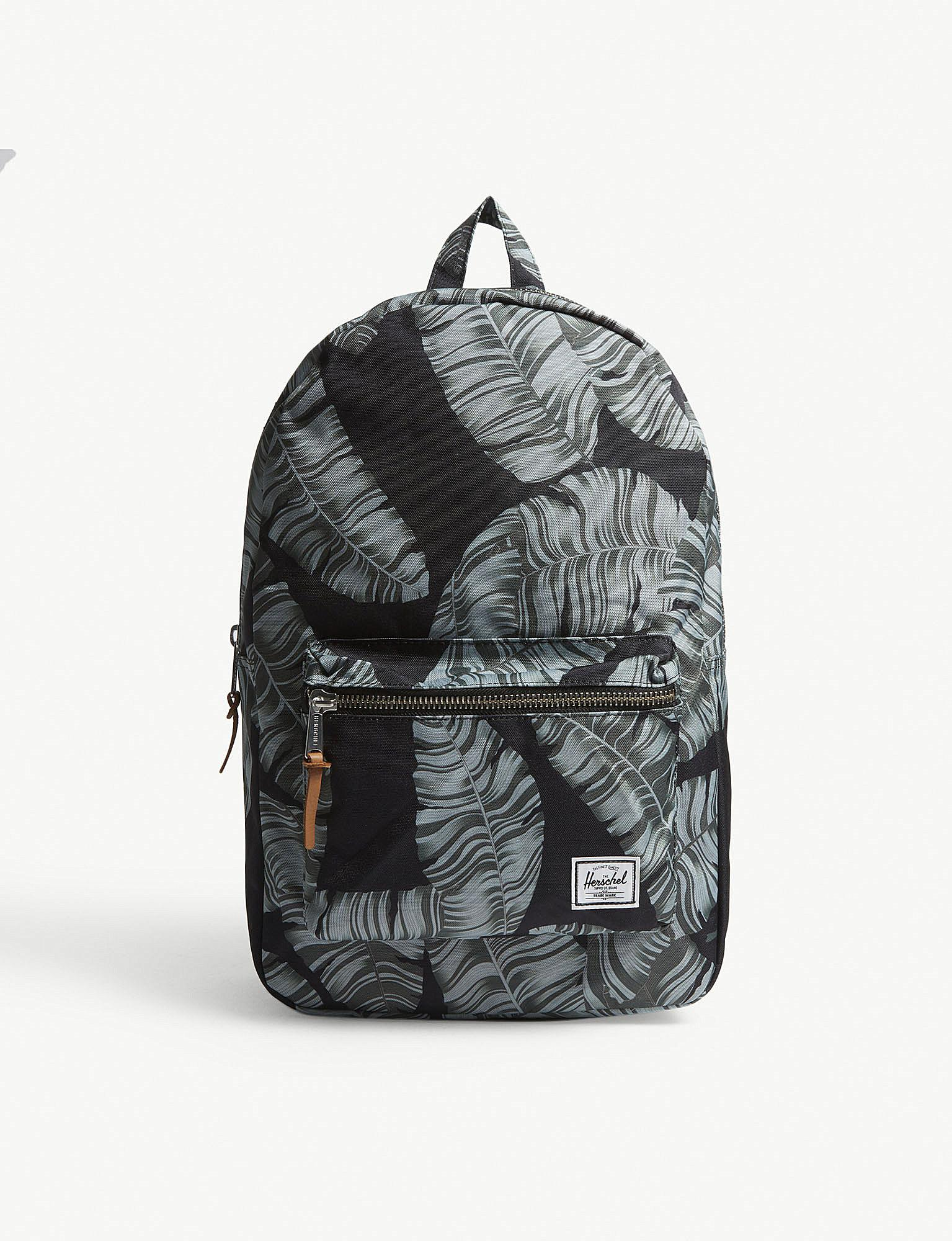 Herschel Supply Co. Settlement Palm Tree Canvas Backpack in Black ... 2d20fa4a71