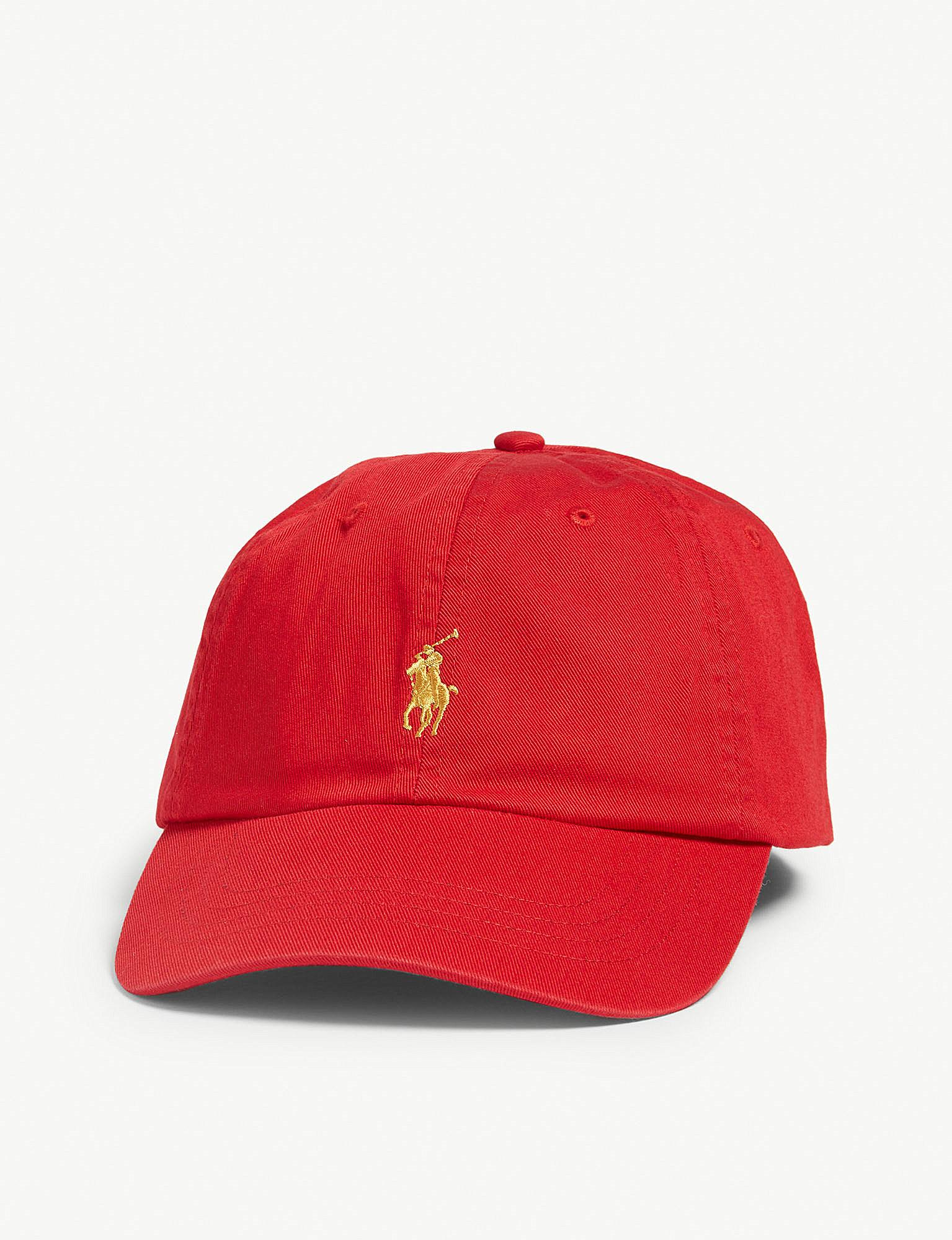 Lyst - Polo Ralph Lauren Logo Cotton Cap With Leather Strap in Red ... 88ce735f03b2
