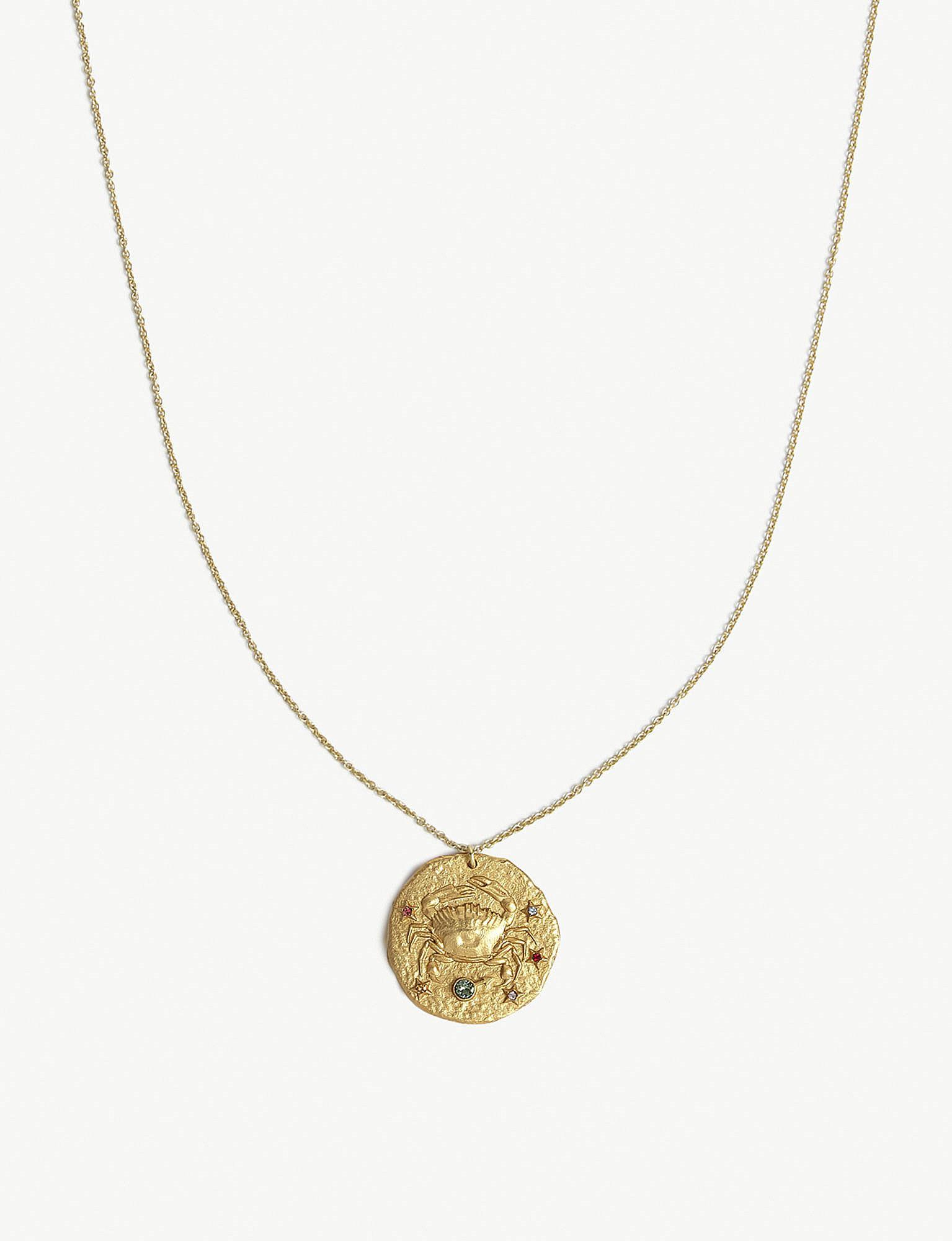 bf54dbe5d6ffdc Maje Cancer Zodiac Brass Coin Necklace in Metallic - Lyst