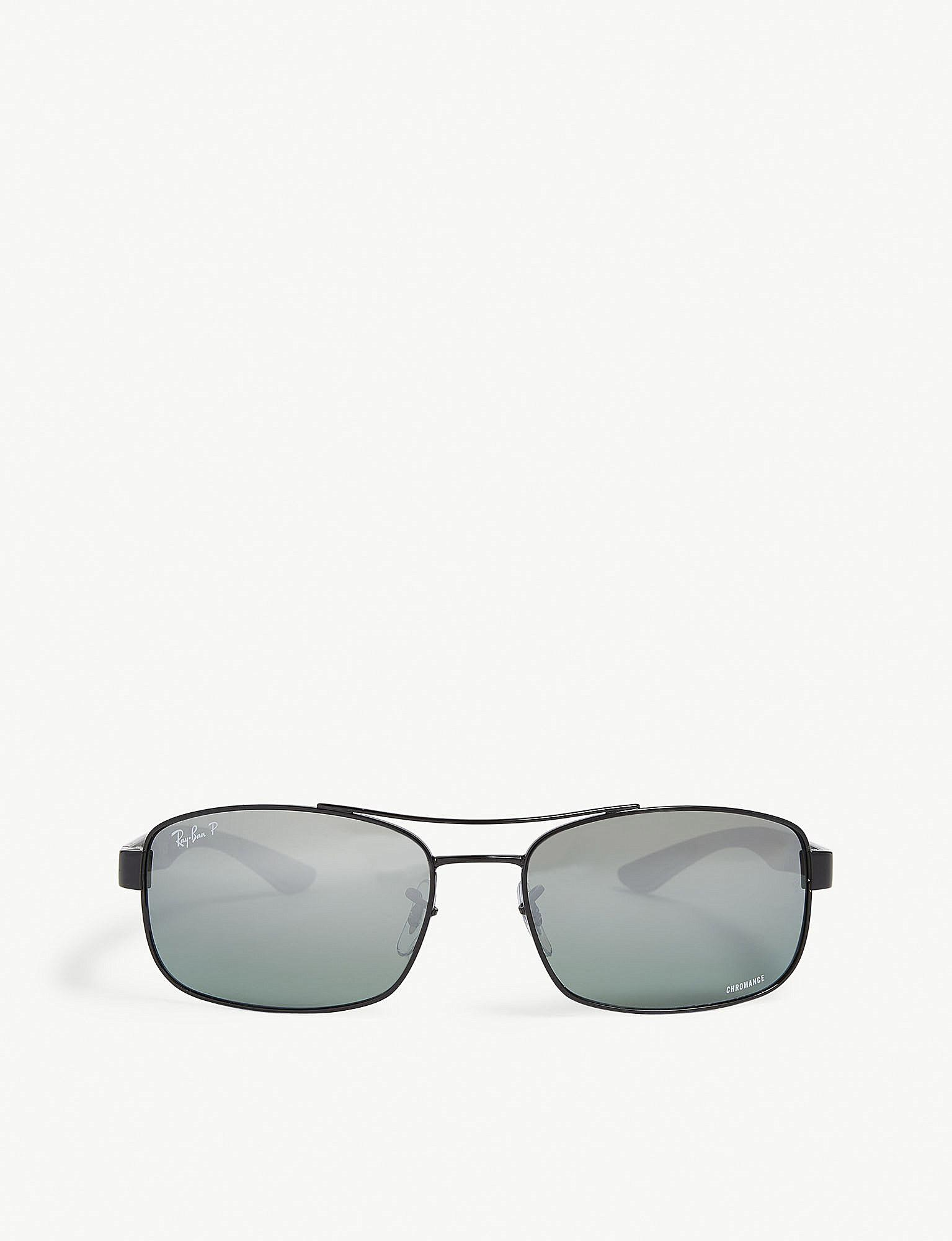 255eefdaf3f Lyst - Ray-Ban Rb8318 Chromance Rectangle-frame Sunglasses in Black ...