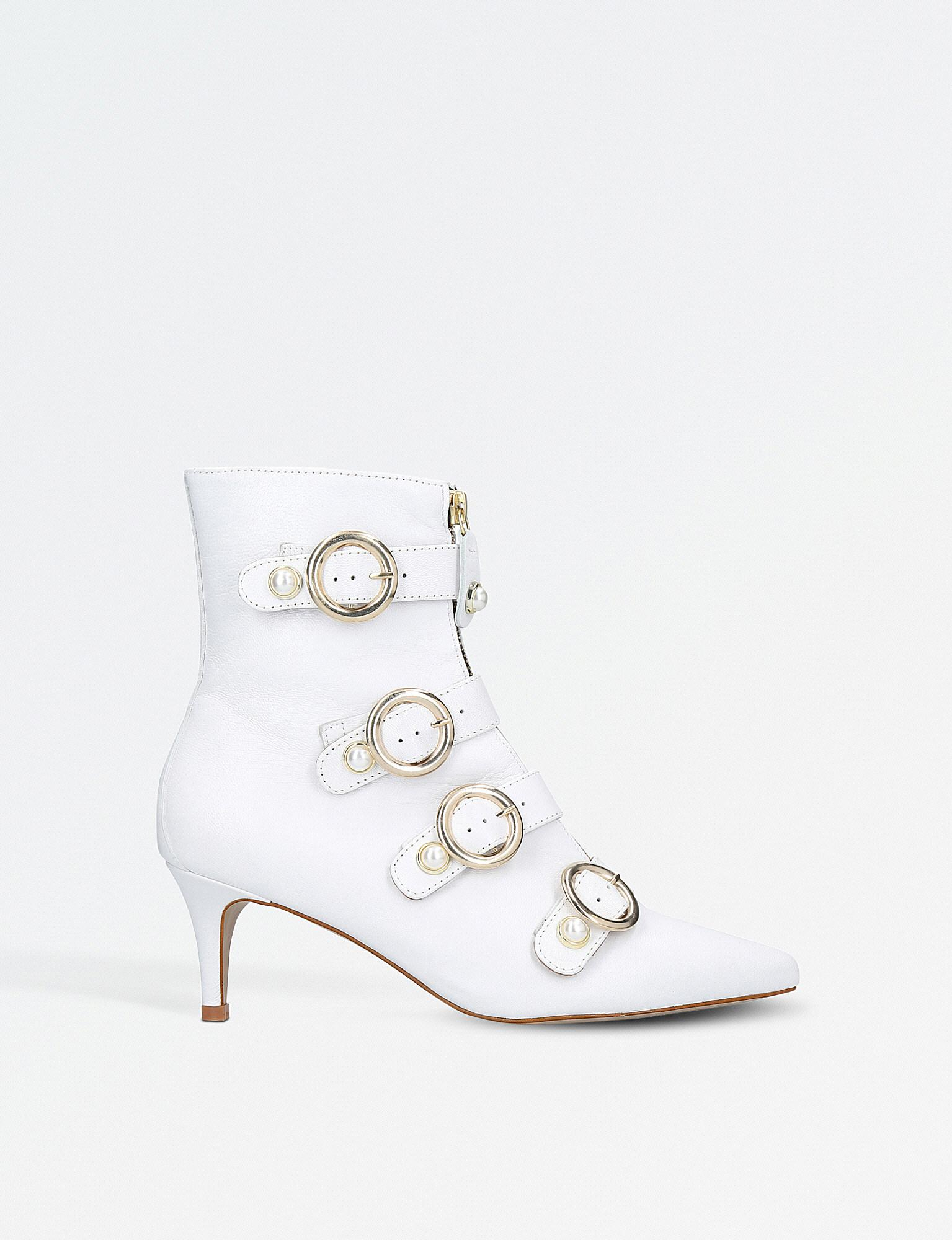 4d697f7ea6b Carvela Kurt Geiger Sparky Leather Ankle Boots in White - Lyst