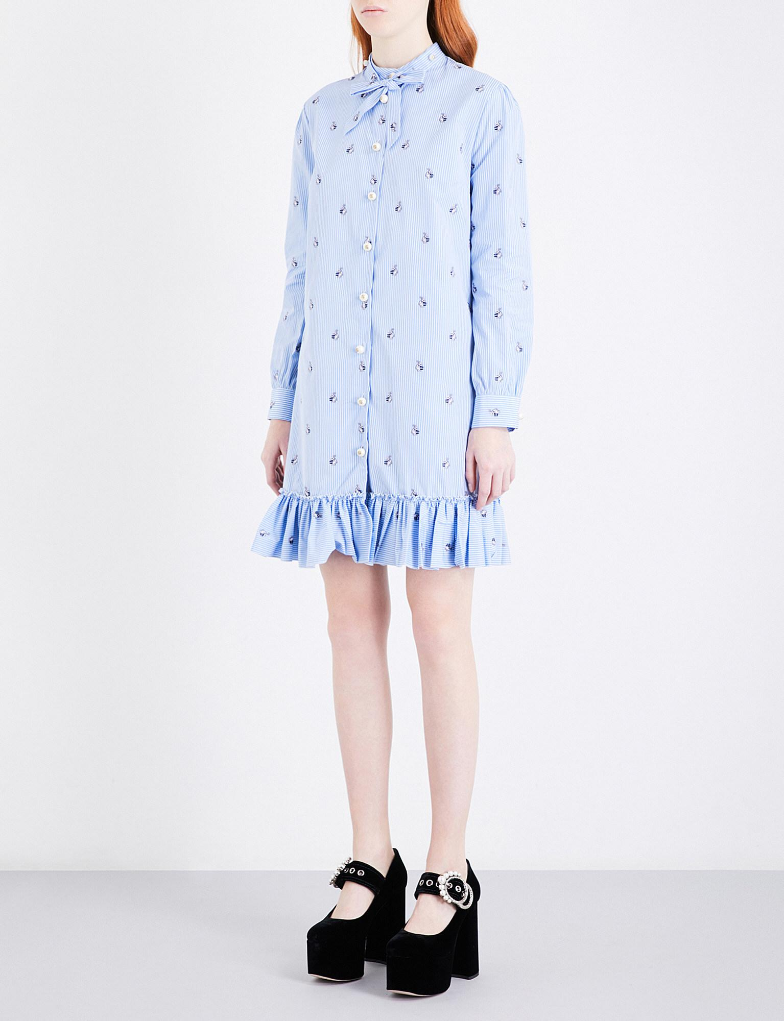 d722afcfdbe Lyst - Gucci Rabbit-embroidered Cotton Dress in Blue