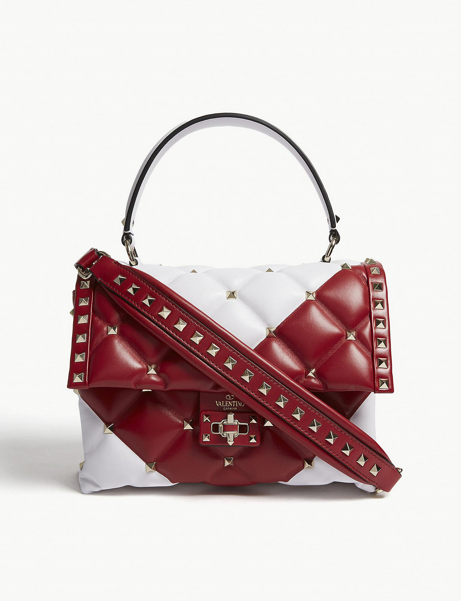 3a04f0a6e85c8 Valentino Candystud Quilted Leather Shoulder Bag in Red - Lyst