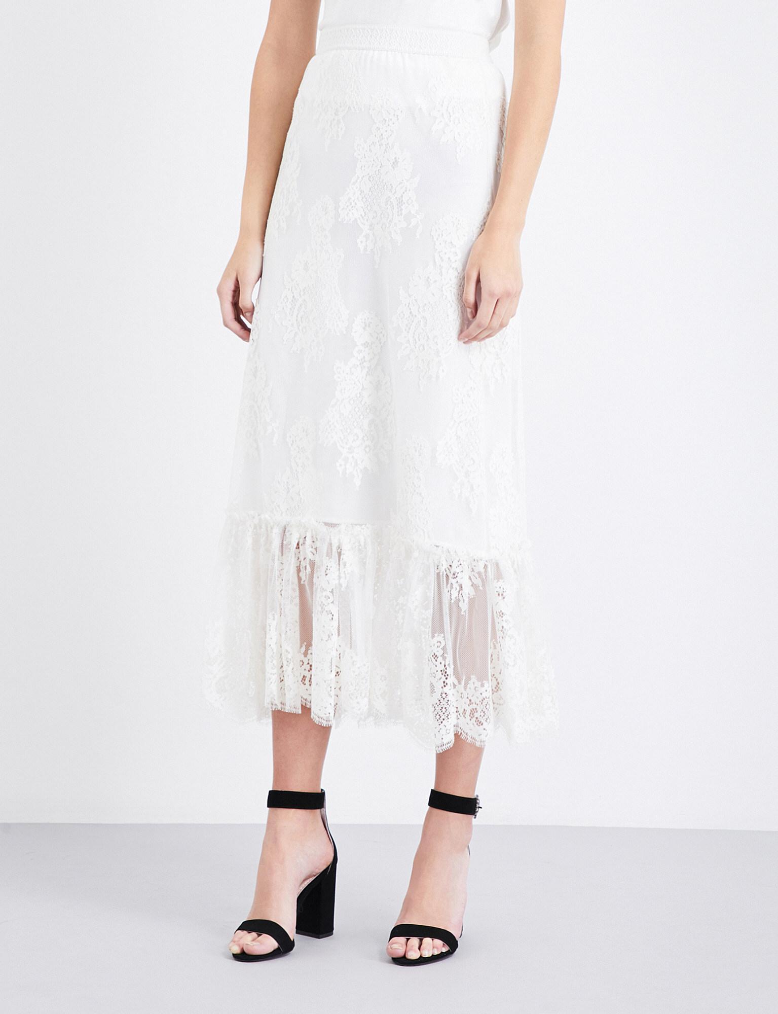 788a786bbc Maje Jilane Lace Skirt in White - Lyst