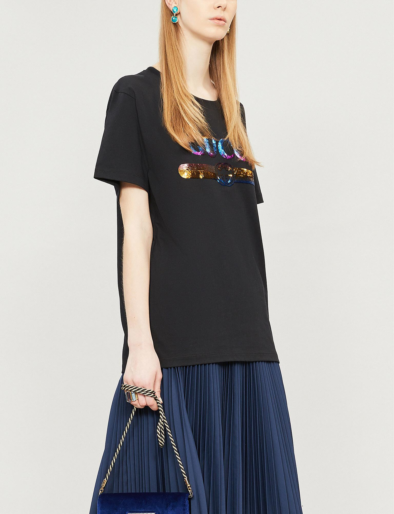 821dc2f7d Lyst - Gucci Sequin-embellished Cotton-jersey T-shirt in Black