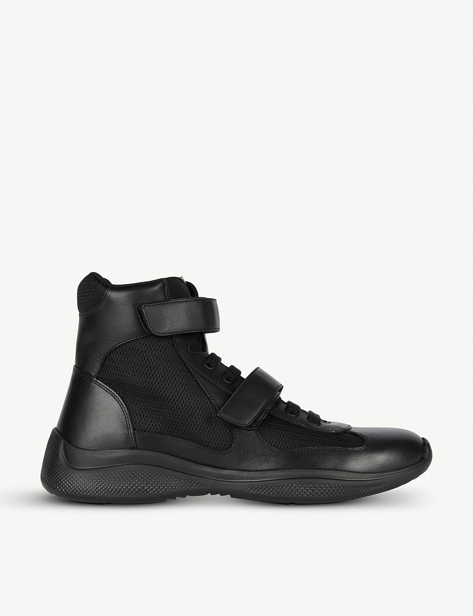 3f0841ca6104f Lyst - Prada Leather And Mesh High-top Trainers in Black for Men