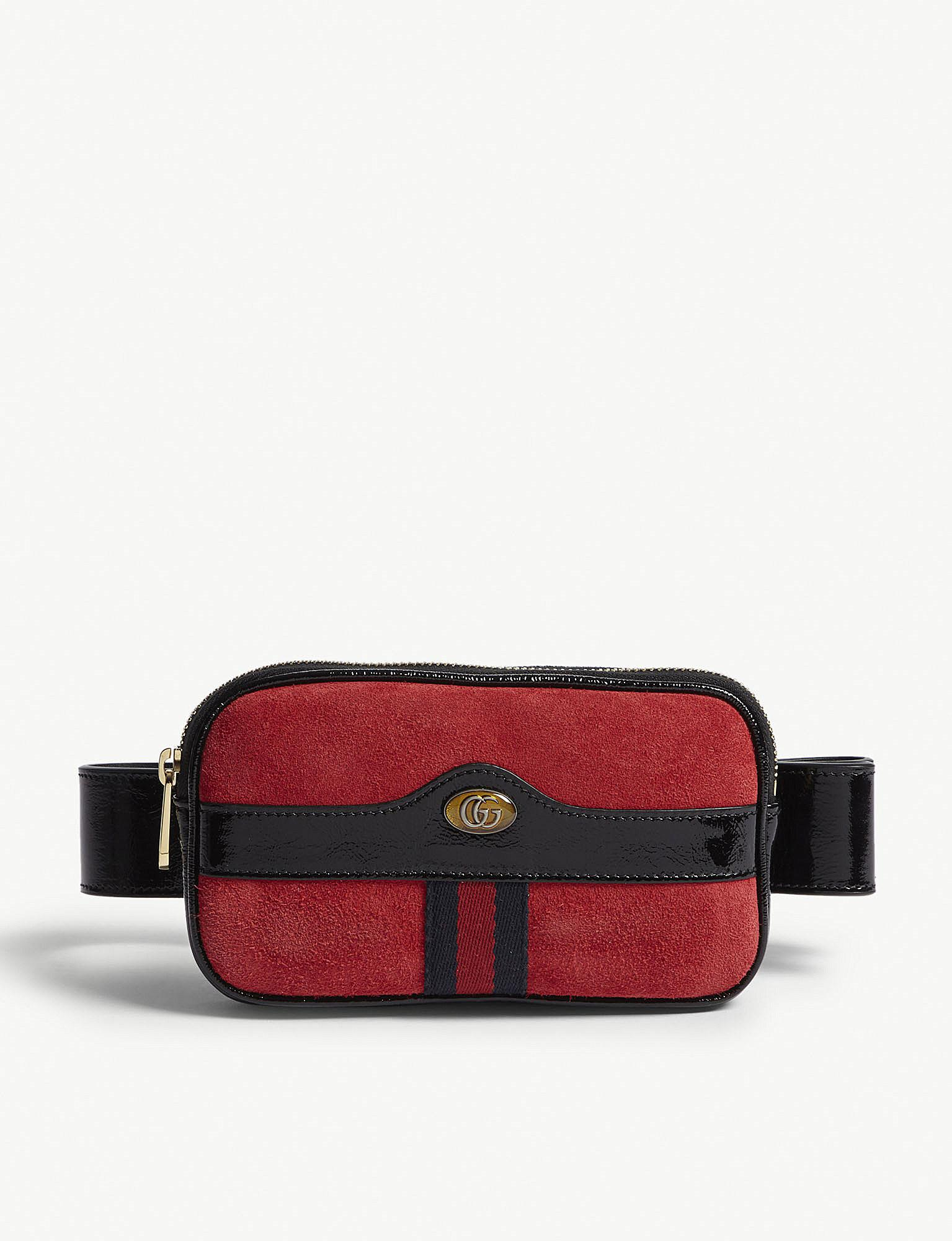 6cd46cc402c Gucci Ophidia Small Leather And Suede Belt Bag in Red - Lyst