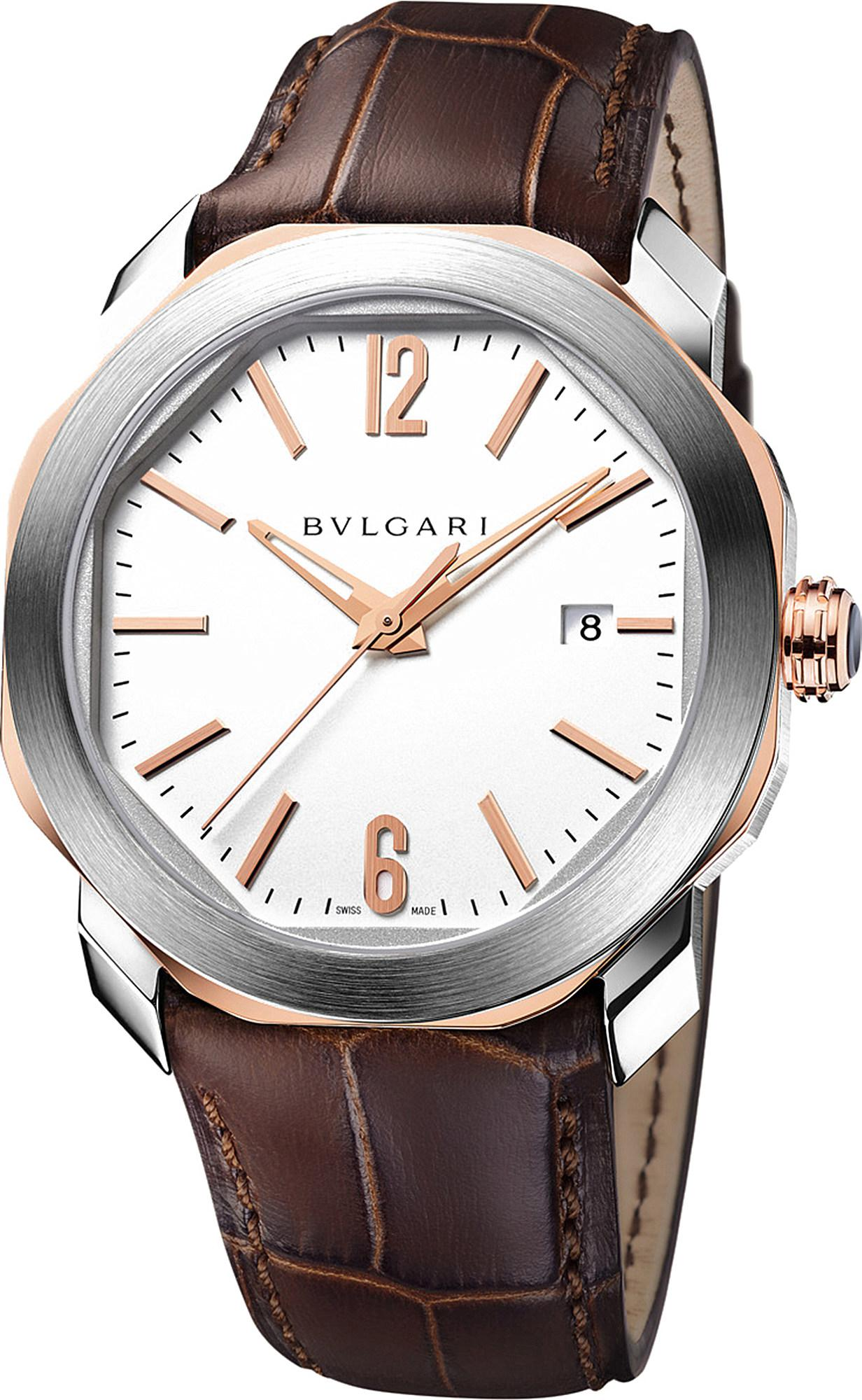 ee63e7f9cec BVLGARI - Metallic Octo 18ct Pink-gold And Leather Watch for Men - Lyst.  View fullscreen