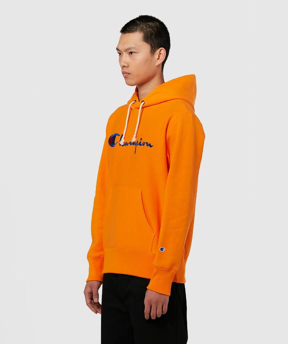 1a66dfb8 Champion Script Logo Hoodie in Orange for Men - Save 42% - Lyst