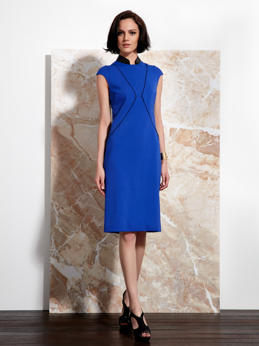Lyst Shanghai Tang Qipao Dress With Leather Collar In Blue