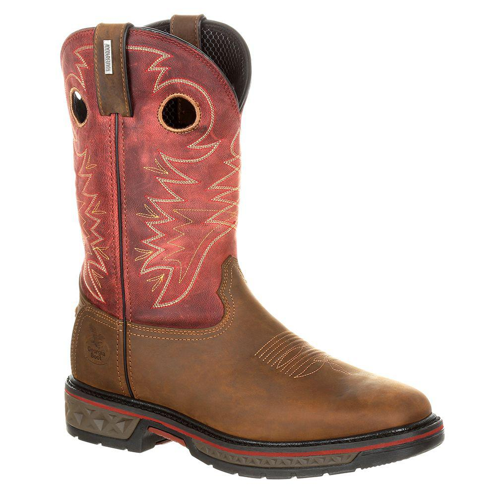 Georgia Boots. Men's Brown Carbo-tec Waterproof Pull-on