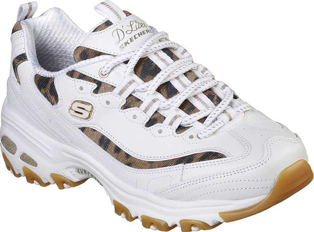 9f73bb85422f Skechers D'lites Quick Leopard Sneaker in White - Lyst