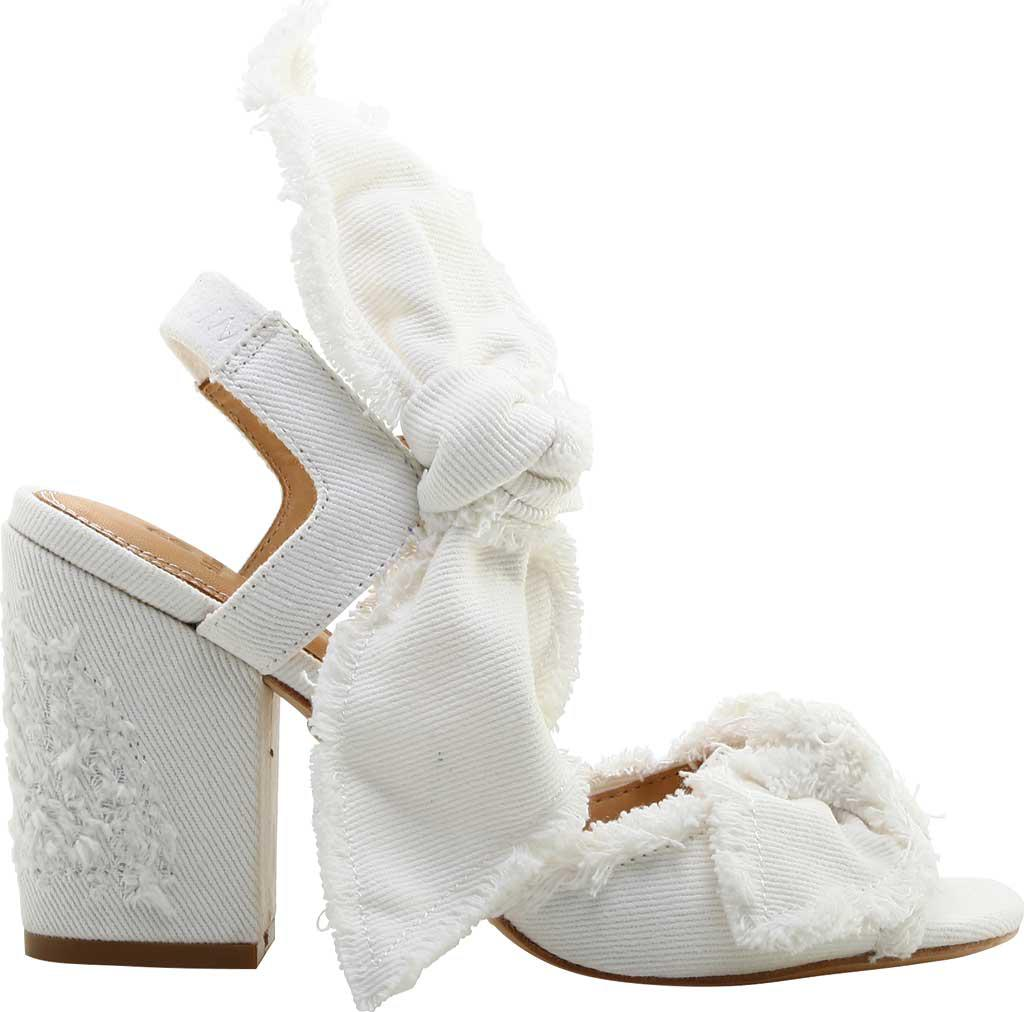 Bill Blass Carmen 90 White Denim Bow Block Heel Sandals hPTSH