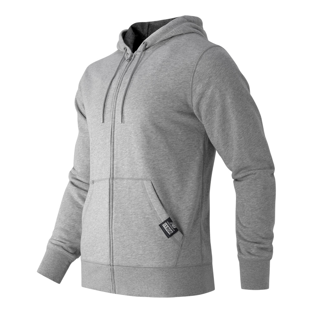 new balance full zip fleece hoodie in gray for men lyst. Black Bedroom Furniture Sets. Home Design Ideas