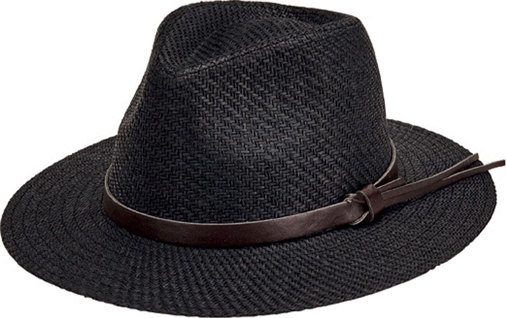 51d5d32a21c San Diego Hat Company. Men s Black Faux Leather Band Cut And Sew Paper  Fedora Cth3561