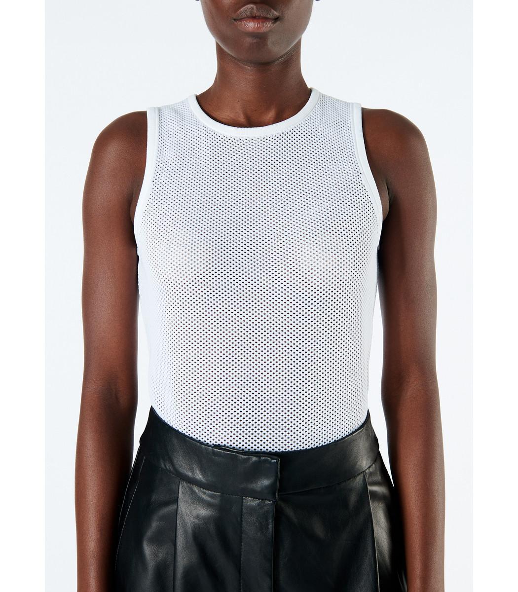 Tibi - White Tech Poly Mesh Bodysuit - Lyst. View fullscreen f42a475be