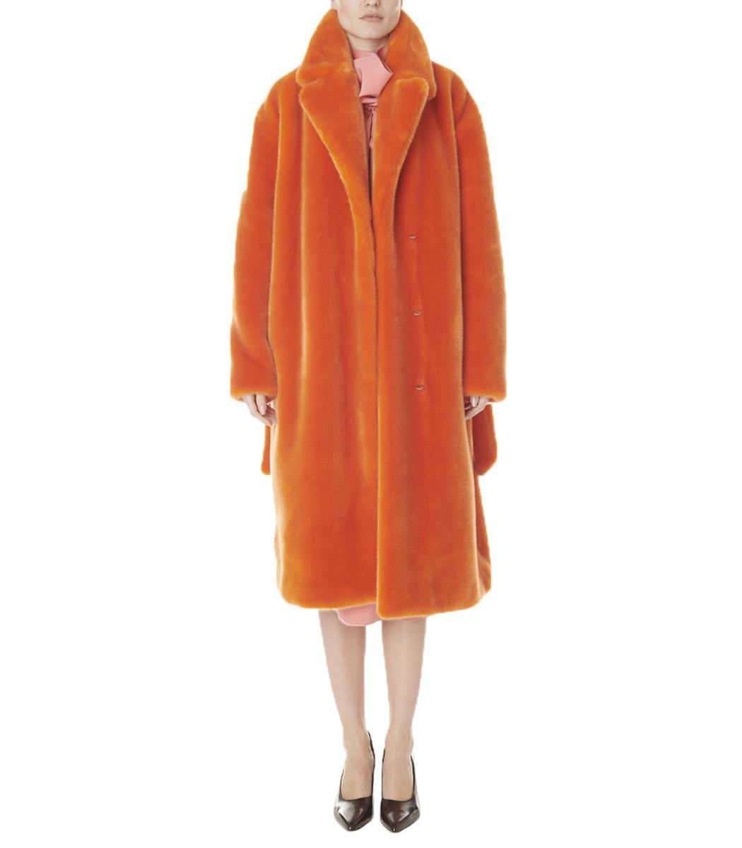 345dac38d7fd Lyst - Tibi Luxe Faux Fur Oversized Coat in Orange