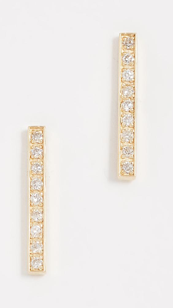 Jennifer Meyer Women S Metallic 18k Gold Bar Diamond Stud Earrings
