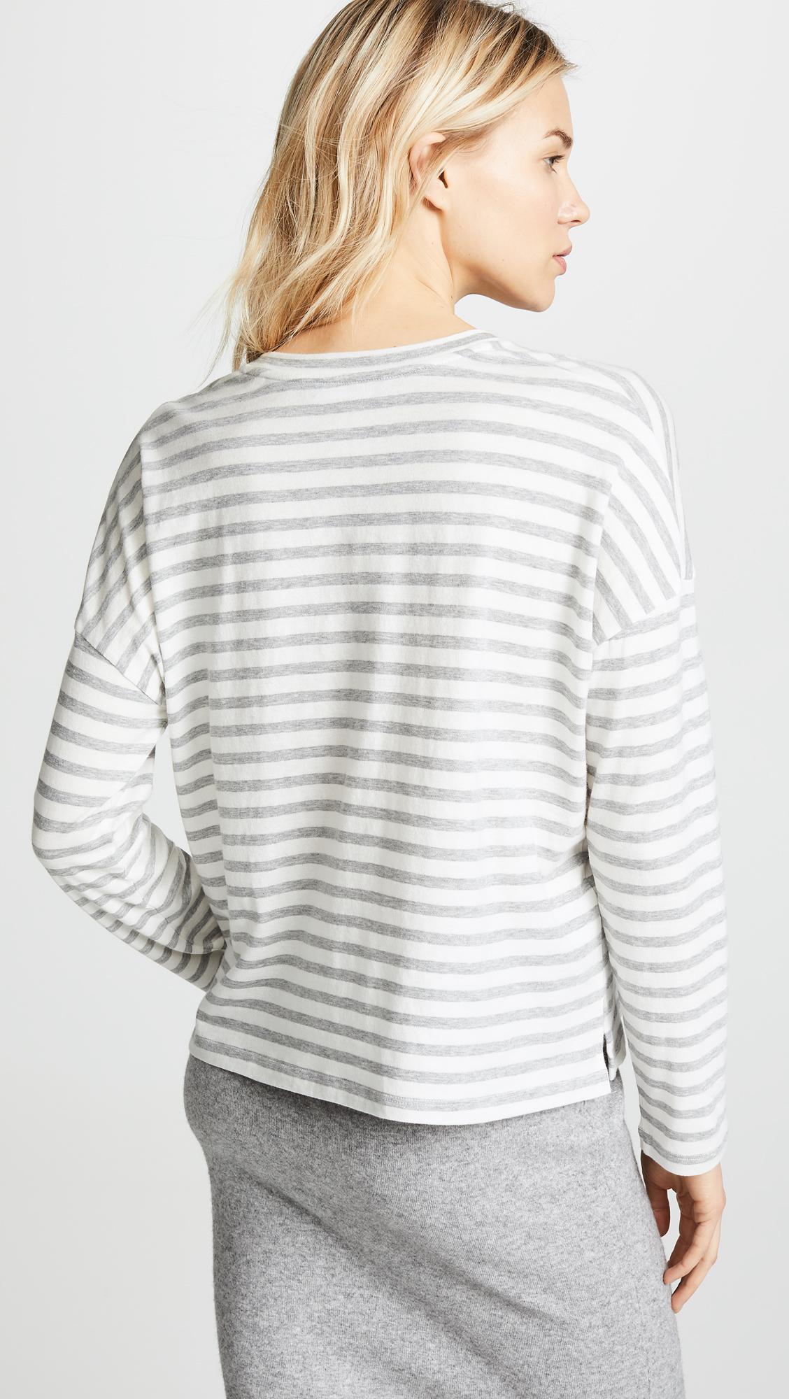 5b0e385ec1 Vince - White Bengal Stripe Long Sleeve Tee - Lyst. View fullscreen