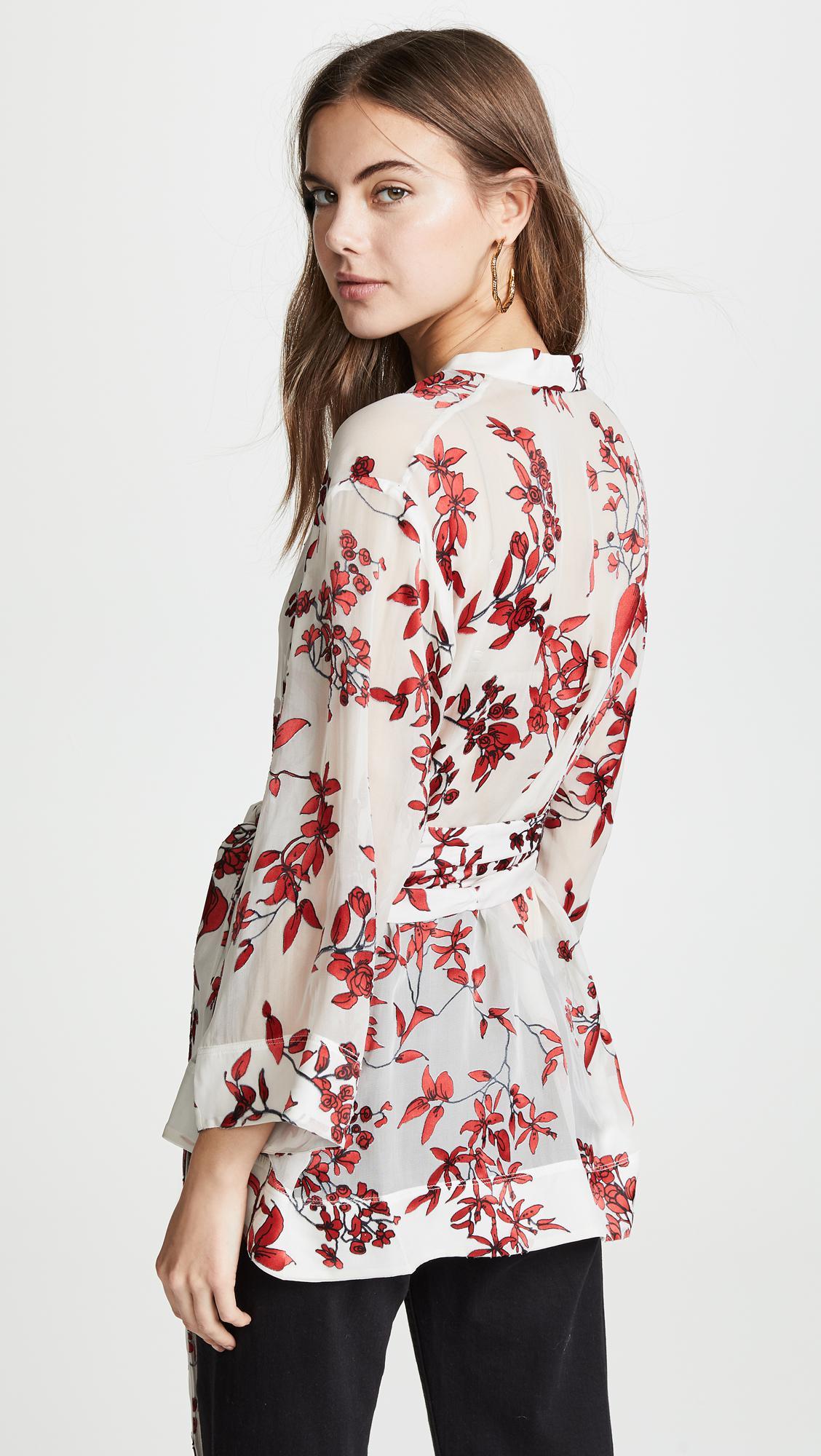 ce1cb3f26d22d Alice + Olivia - Multicolor Rosario Tie Waist Kimono Top - Lyst. View  fullscreen