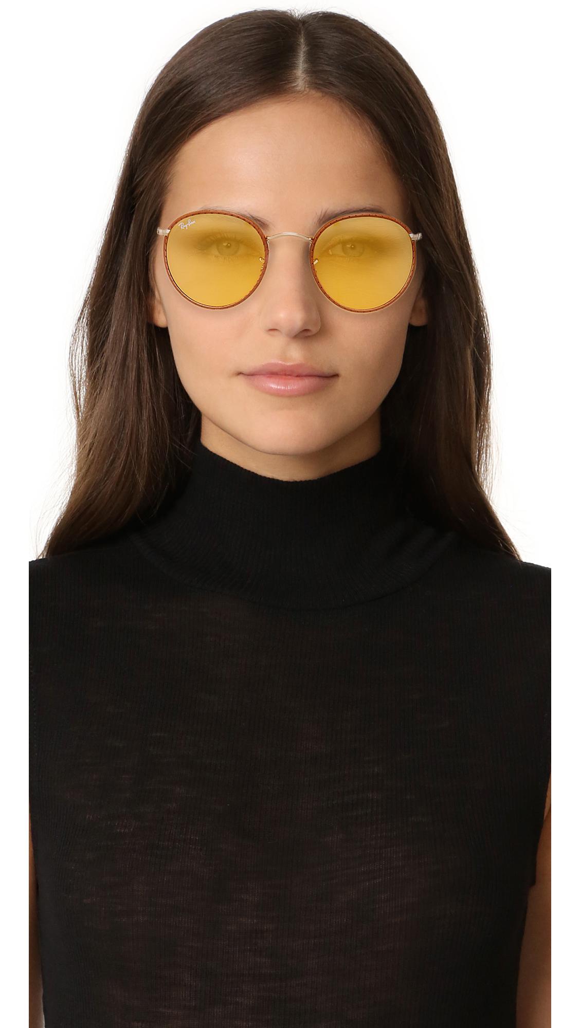 cedb6ec842 Lyst - Ray-Ban Phantos Round Leather Photochromic Sunglasses in Brown