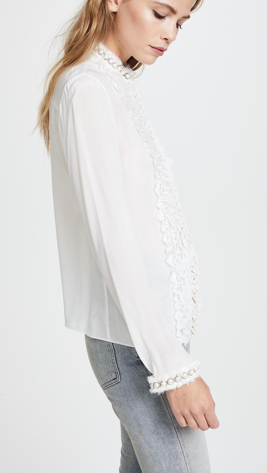 dc3cd75d685e9 Lyst - Alice + Olivia Arminda Ruffle Imitation Pearl Blouse in White