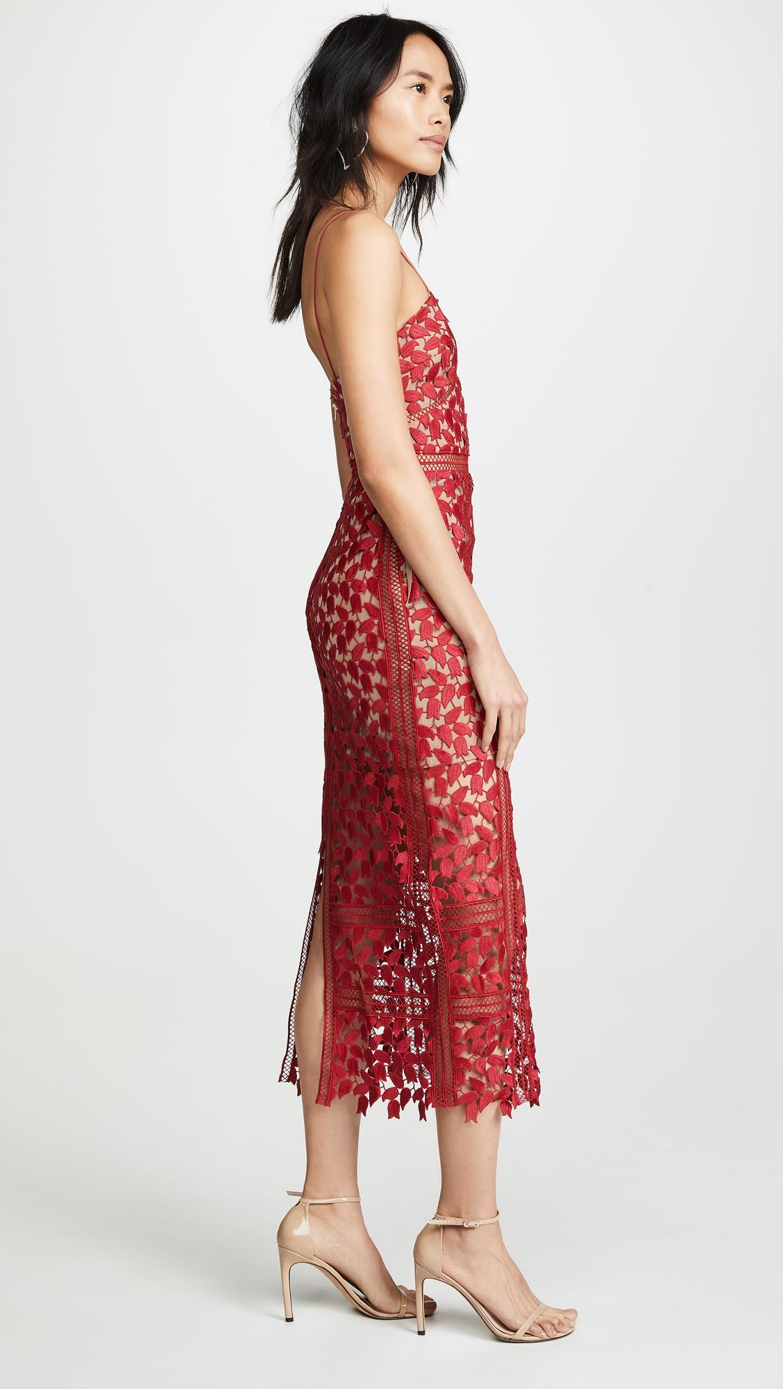 dfa12a24e1c Self-Portrait - Dark Red Arabella Dress - Lyst. View fullscreen
