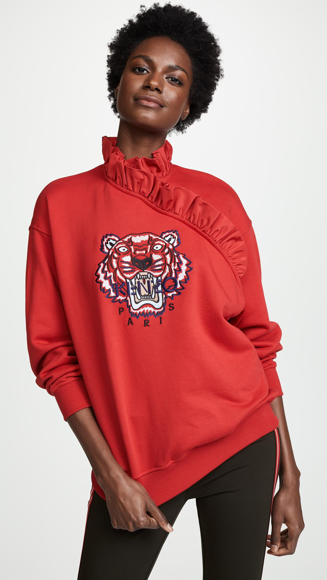 8f3fa81a KENZO Tiger Ruffle Sweatshirt in Red - Lyst
